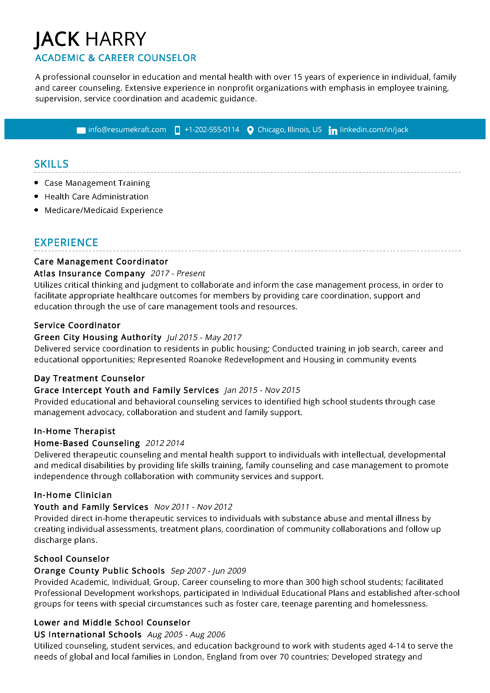 Career Counselor Resume Sample