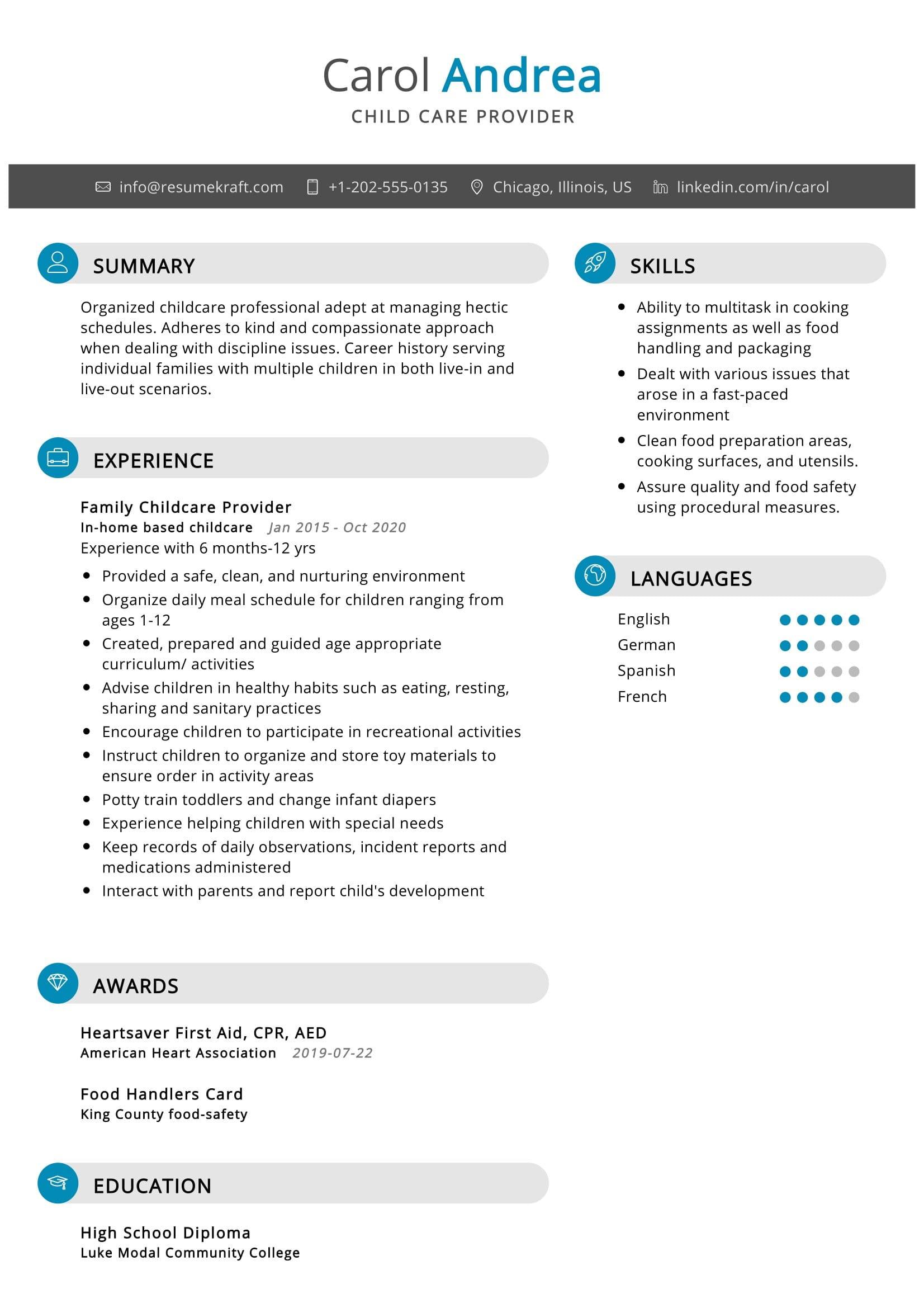 child care resume sample  resumekraft