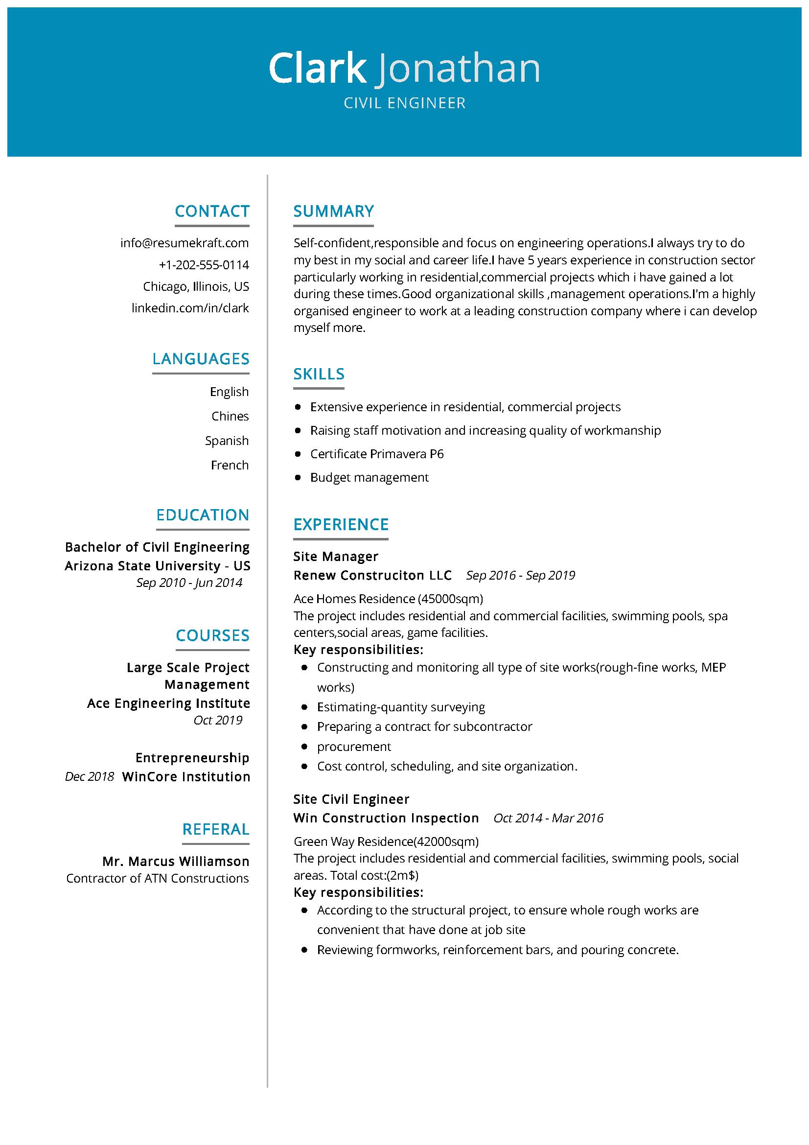 Civil Engineer Resume Sample Resumekraft