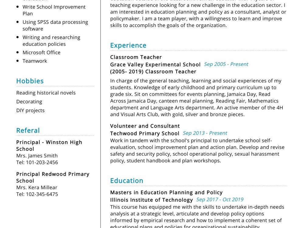 Classroom Teacher Resume Sample
