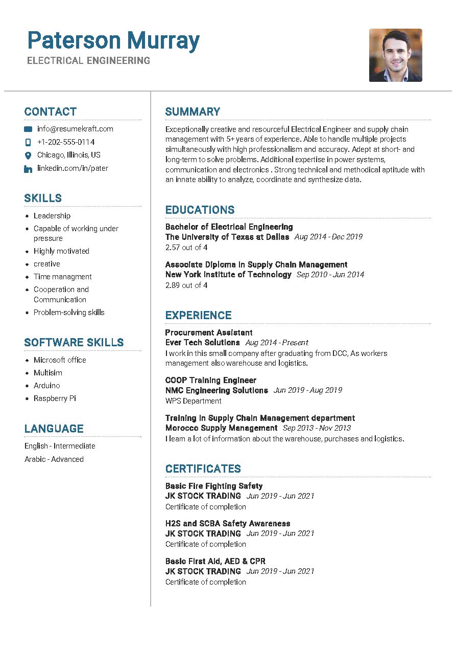 electrical engineering resume sample