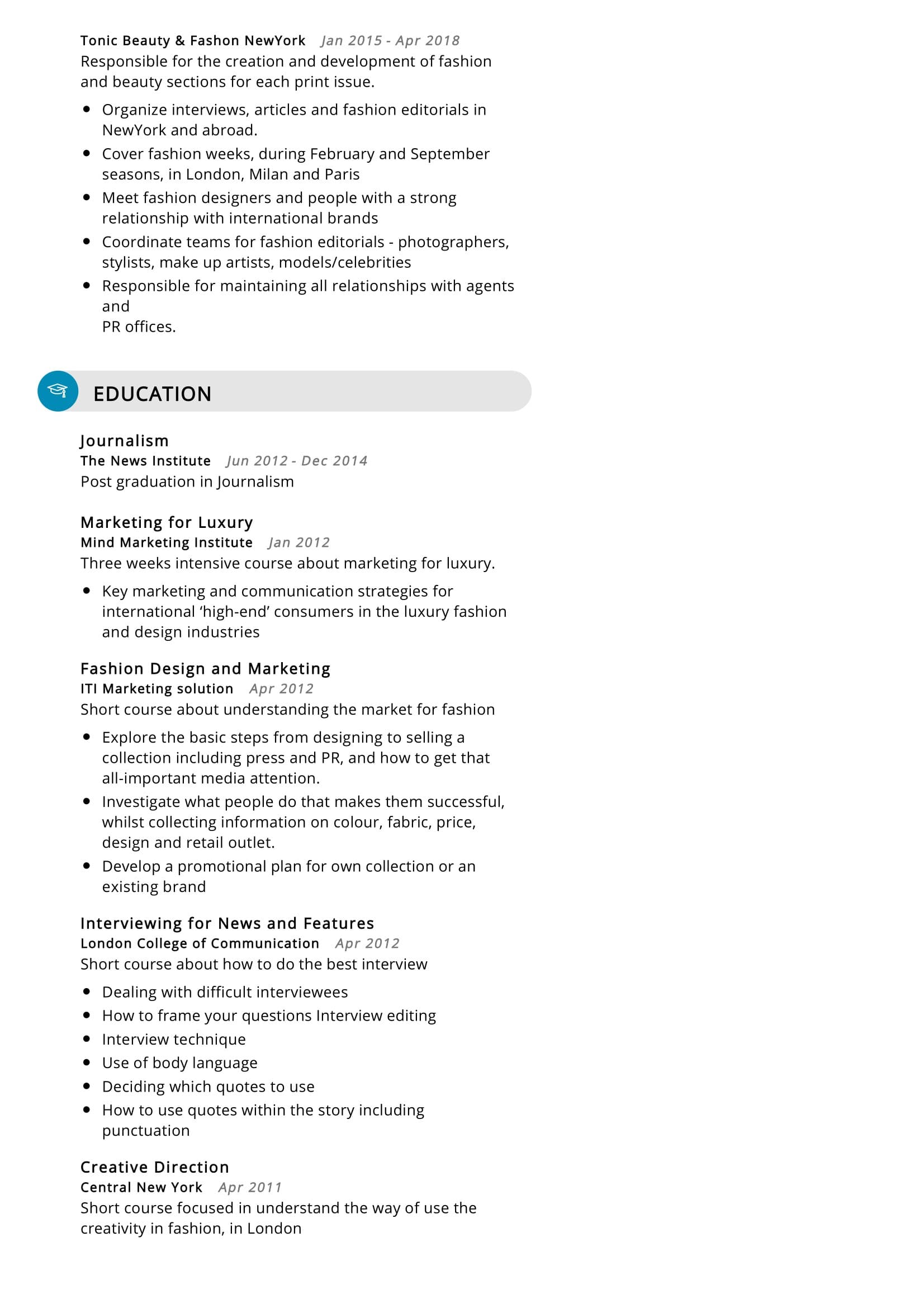 Fashion Editor Resume Sample Resumekraft