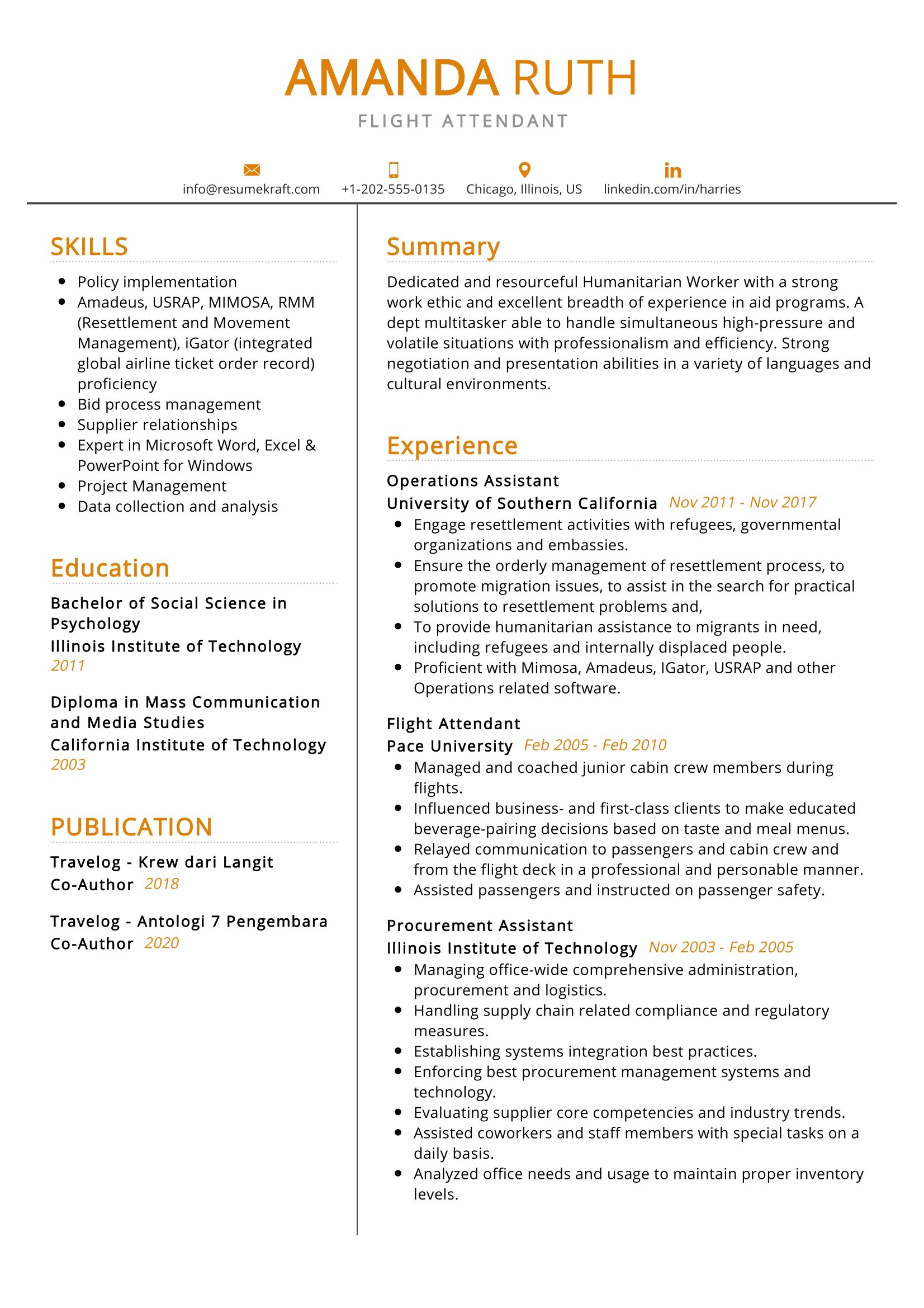 Flight Attendant Resume Sample Resumekraft