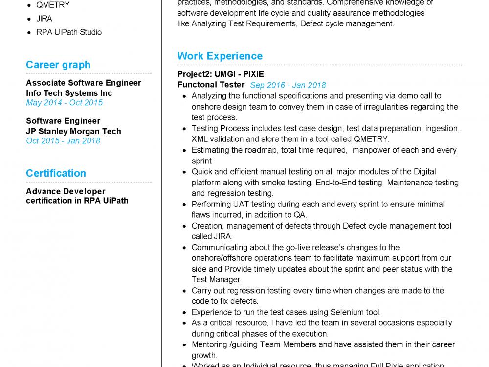 Functional Tester Resume Sample