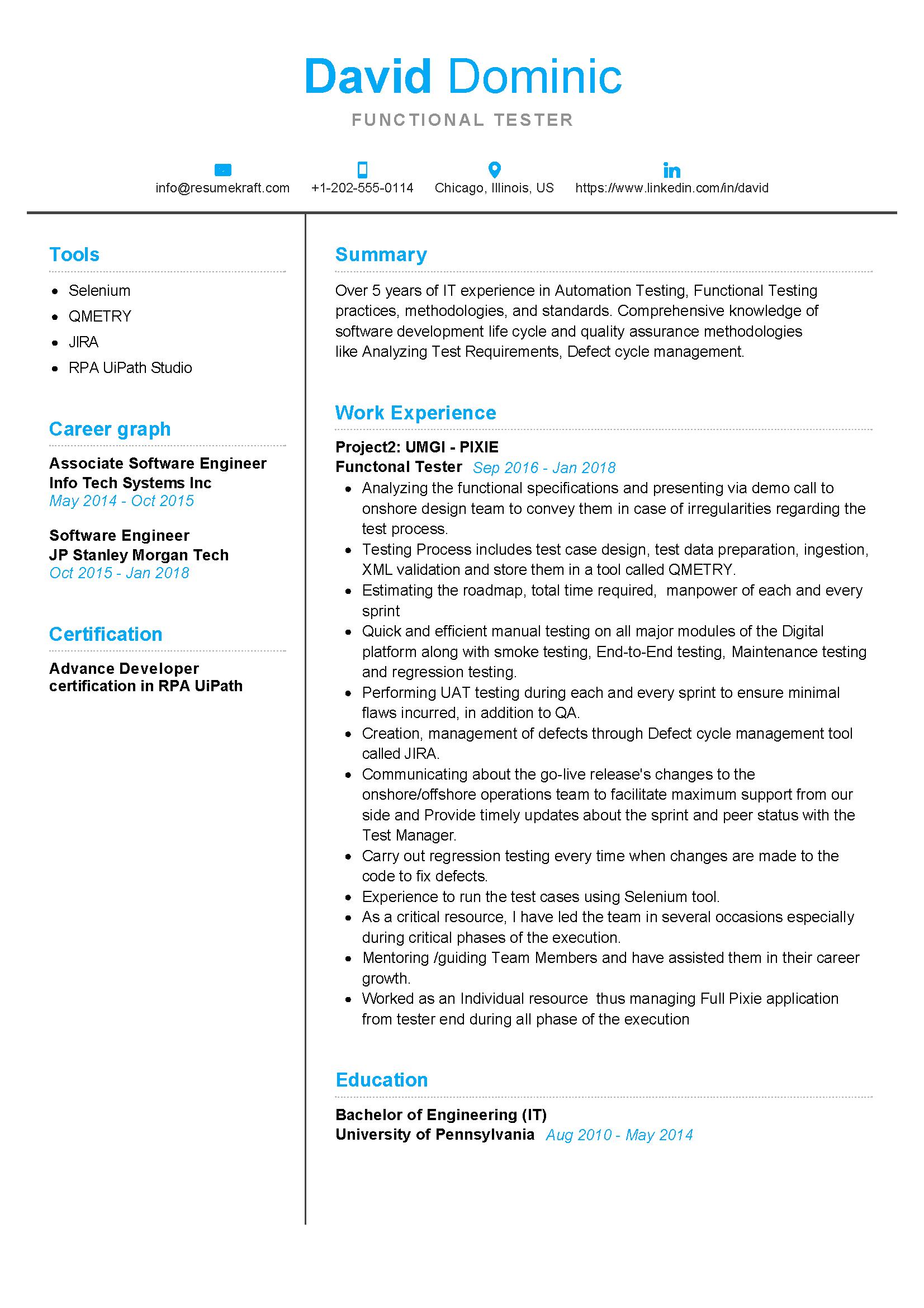 functional tester resume sample  resumekraft