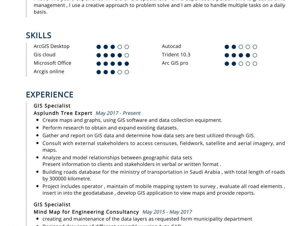 GIS Specialist Resume