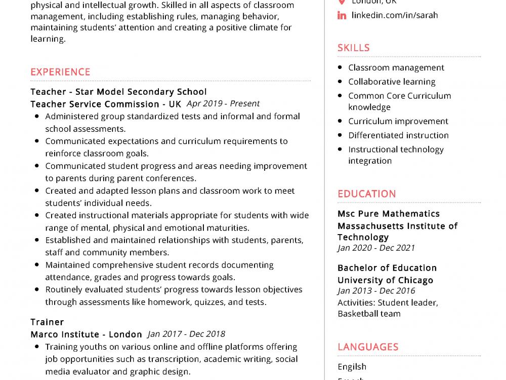 Sample resume high school teacher best college dissertation abstract