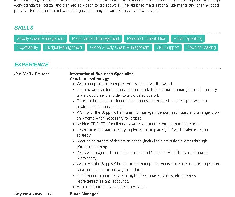 International Business Specialist Resume Sample