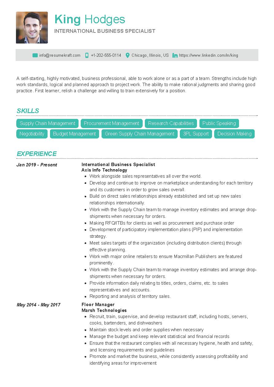 international business specialist resume sample  resumekraft