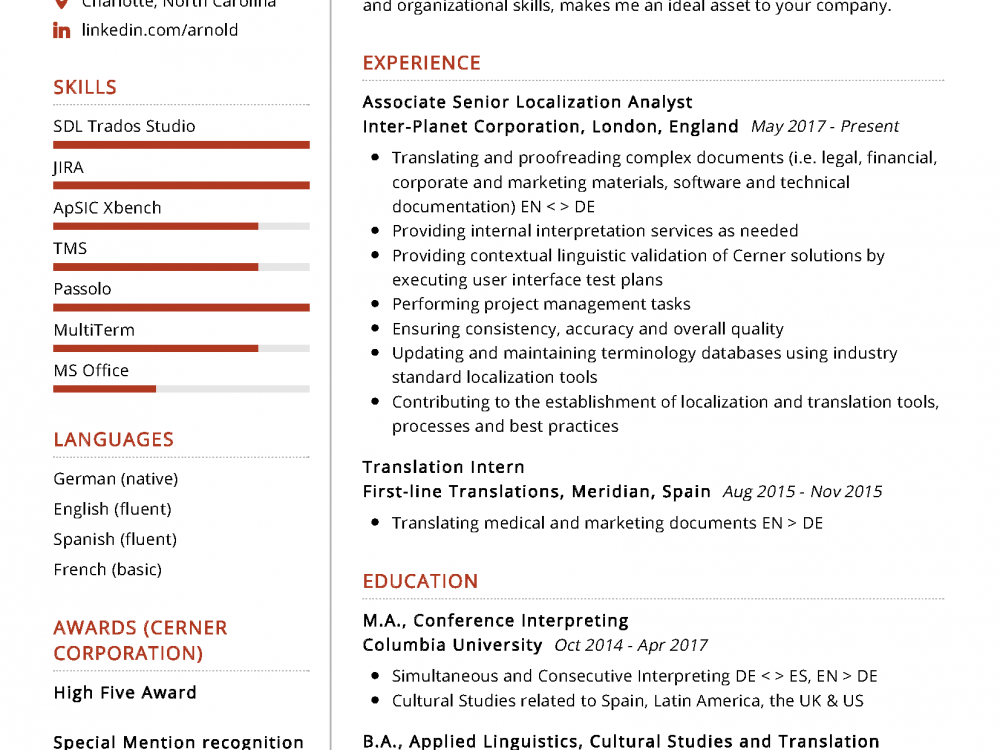 Interpreter Resume Sample