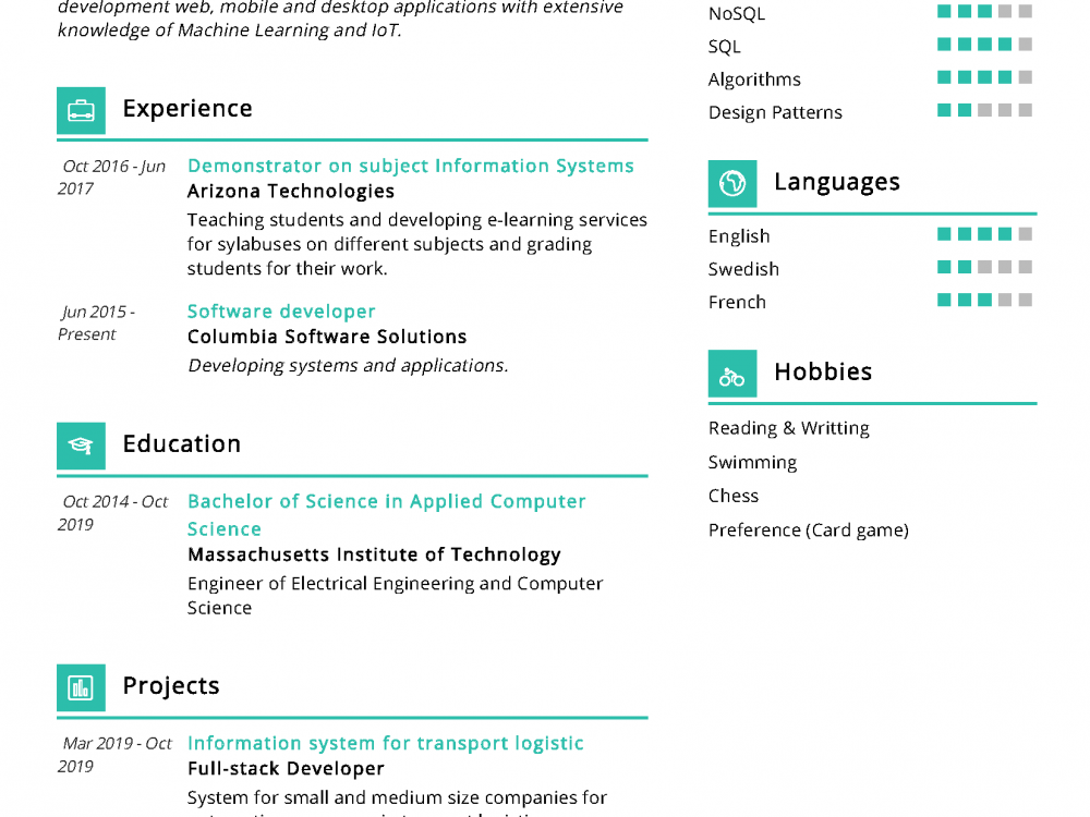 Junior Software Developer Resume Sample