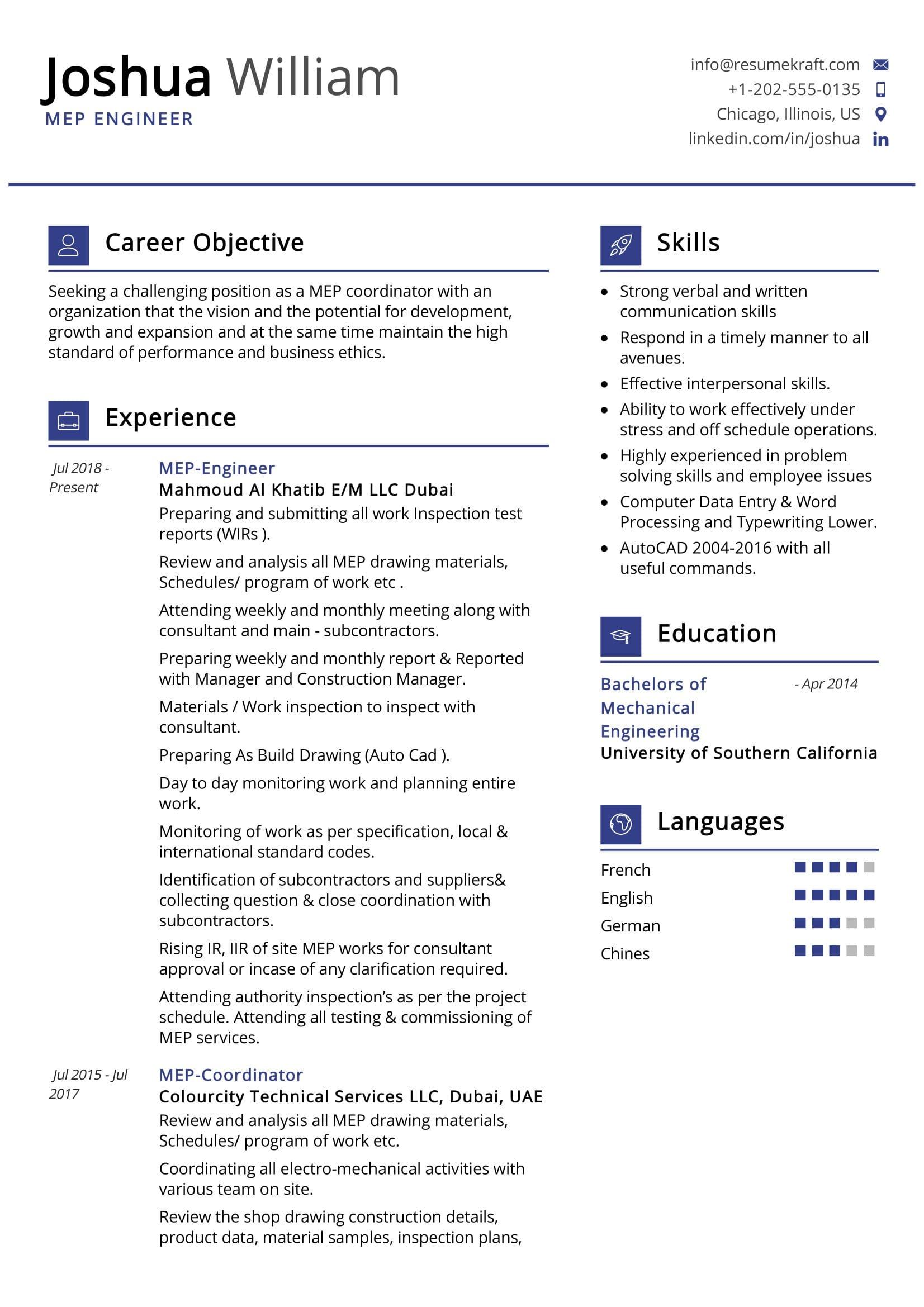 MEP Engineer Resume Sample