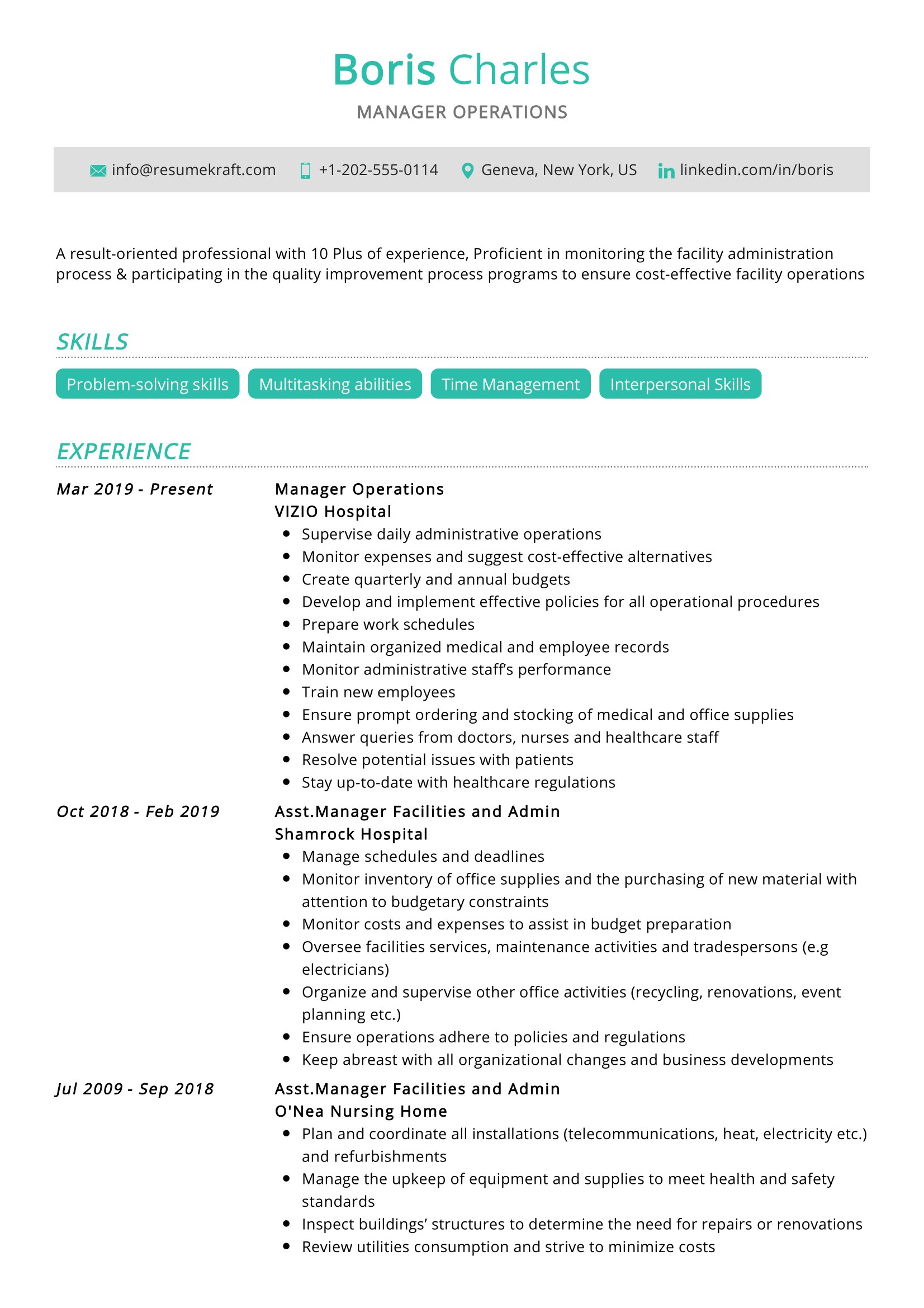 Manager Operations Resume Sample