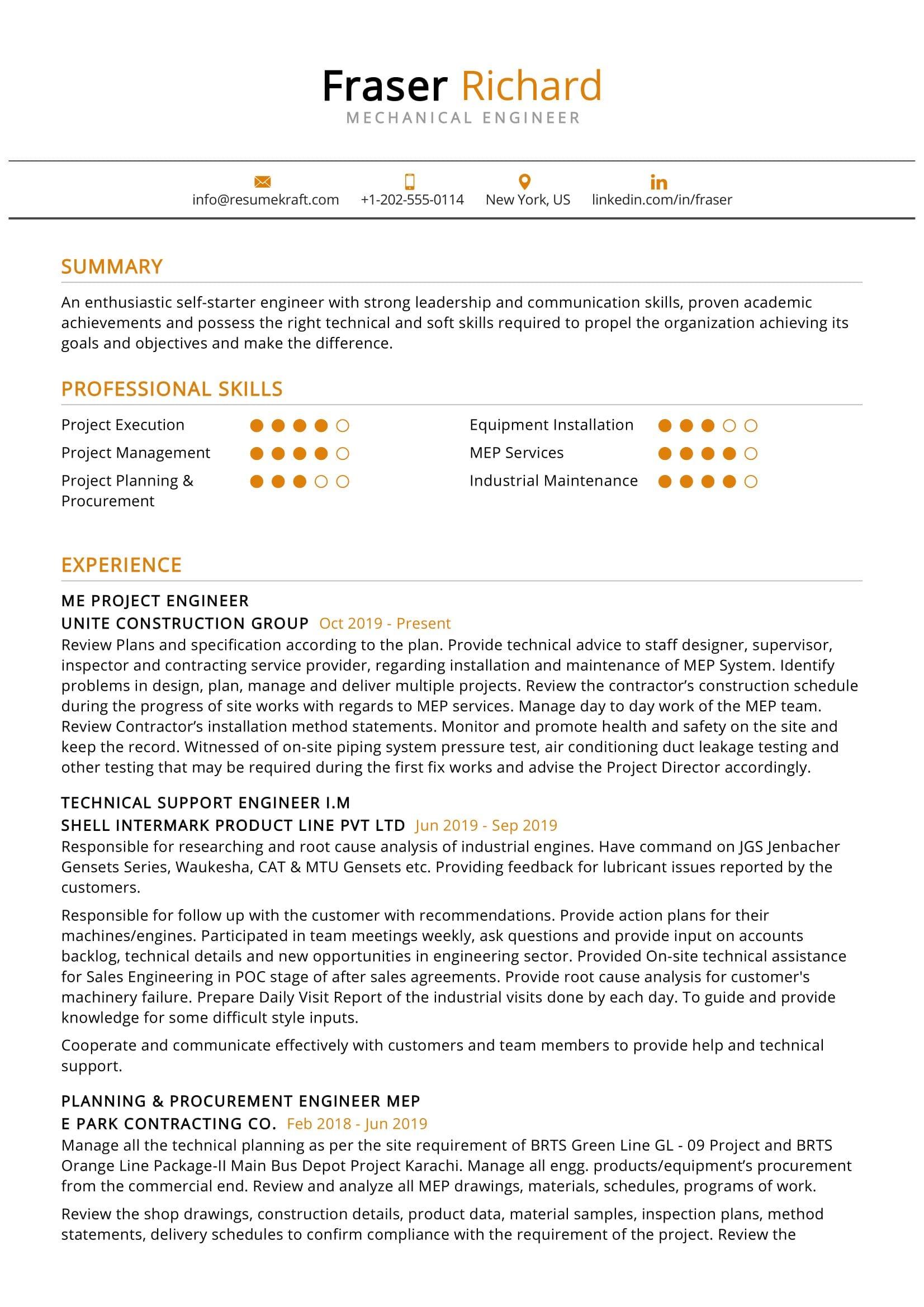 mechanical engineer resume example  resumekraft