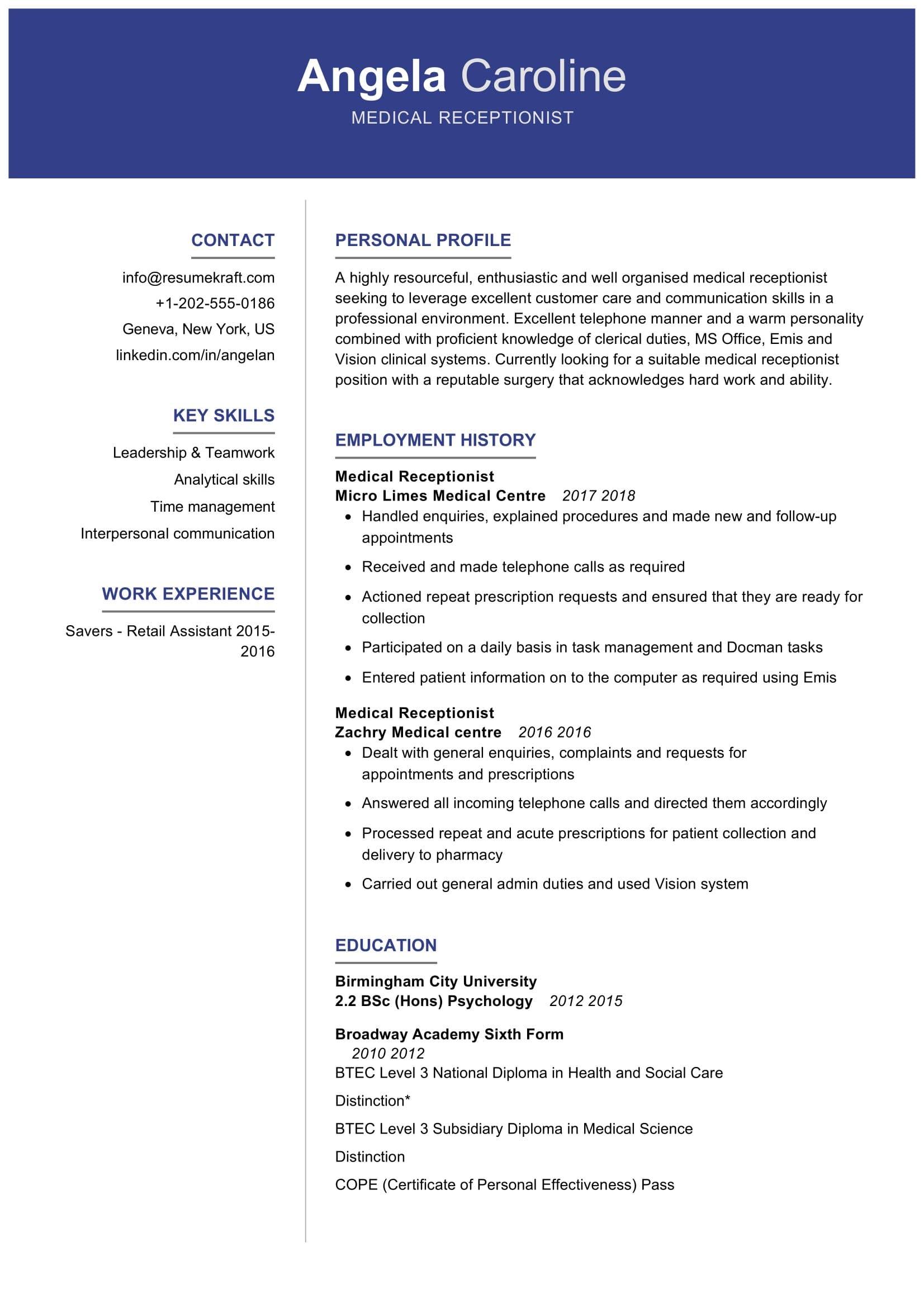 medical receptionist resume sample  resumekraft