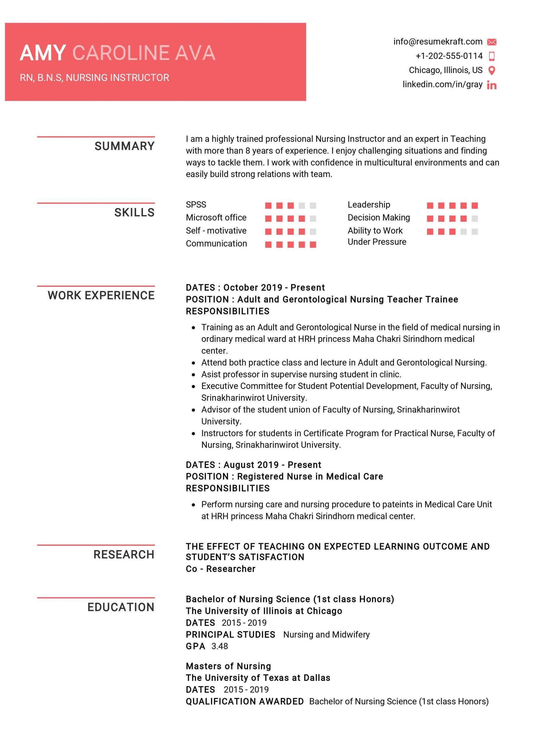 Nursing Instructor Resume Sample