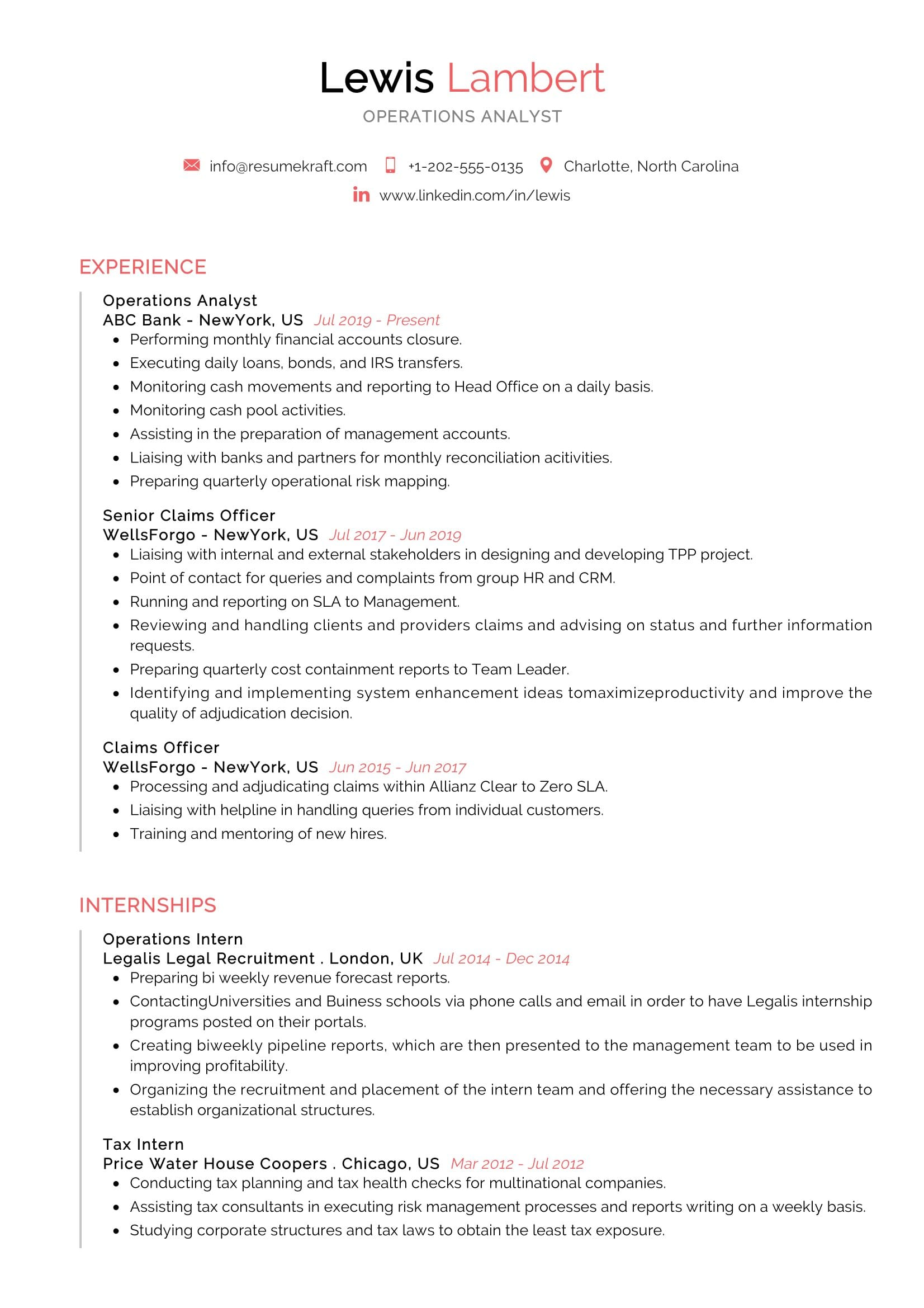 Operations Analyst Resume Example