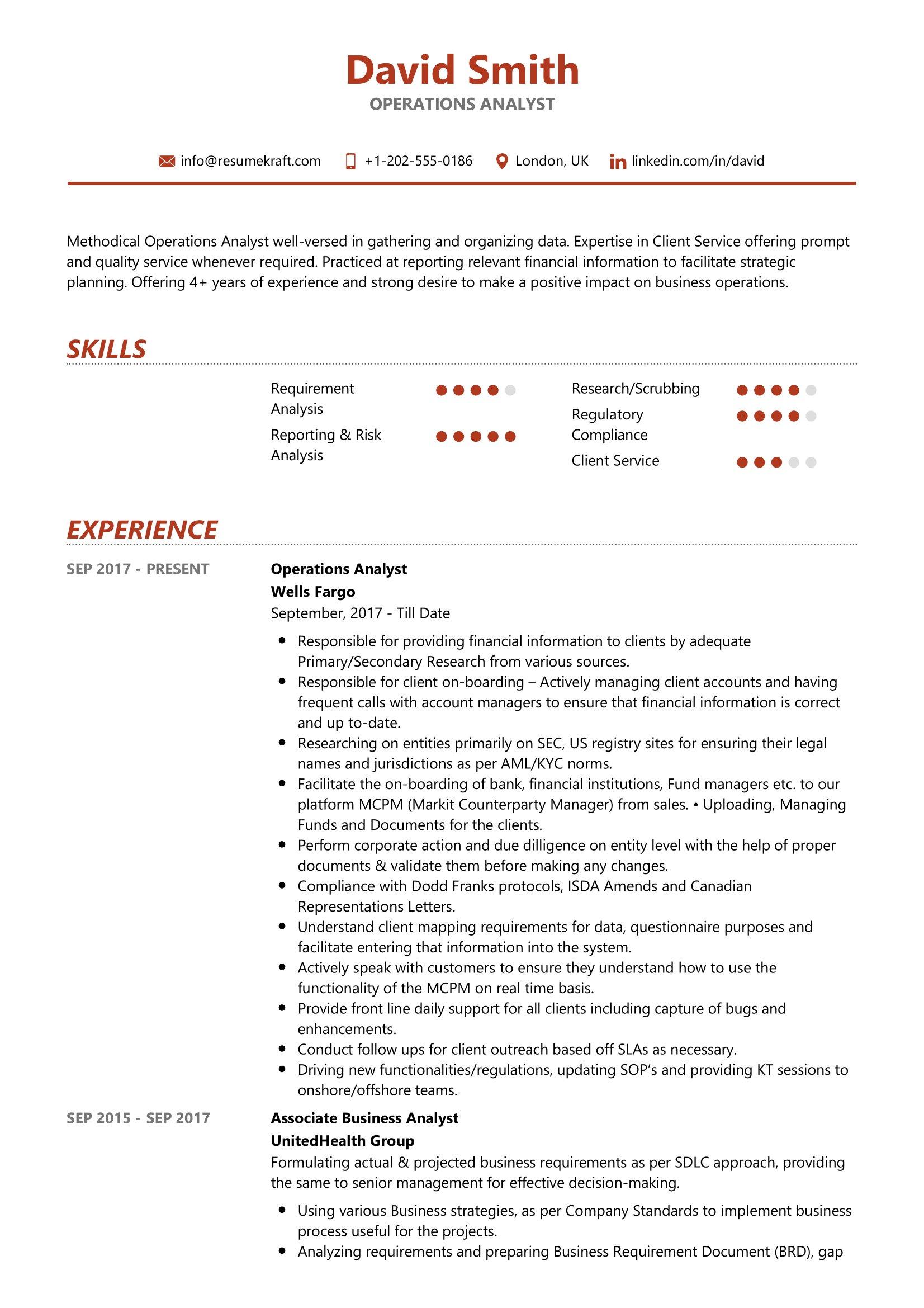 operations analyst resume sample  resumekraft