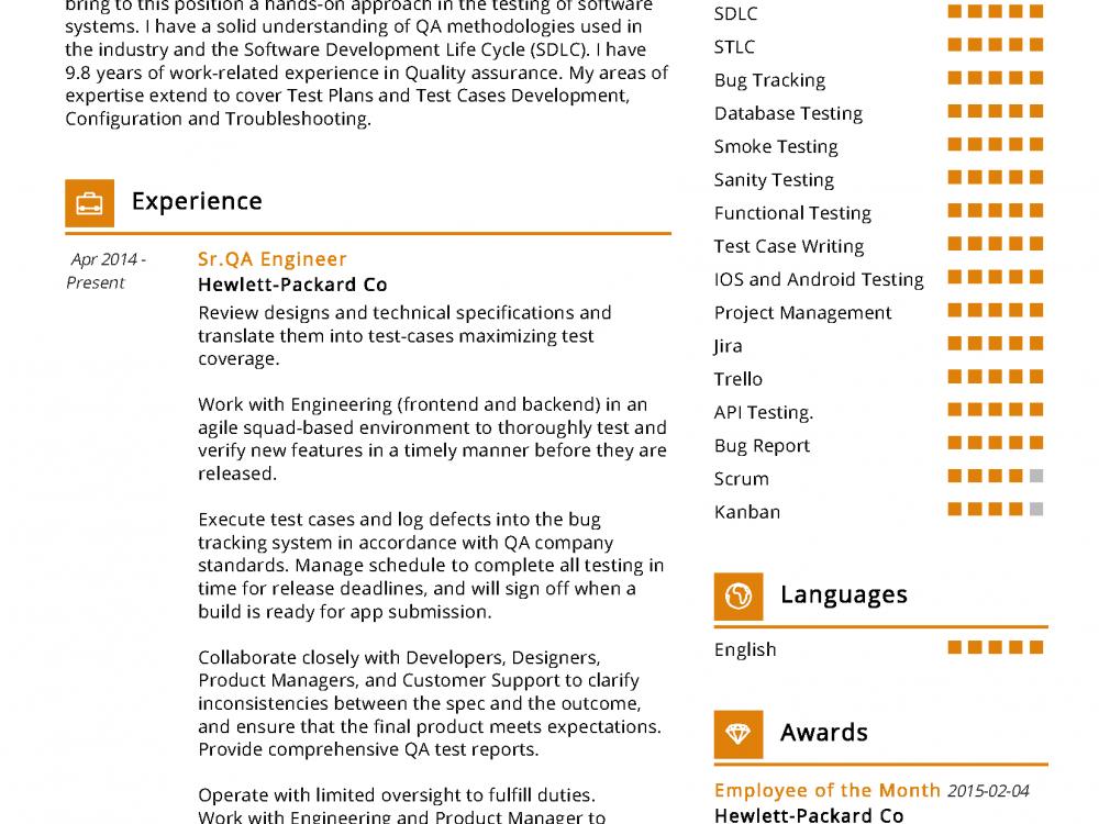 sqa engineer resume sample