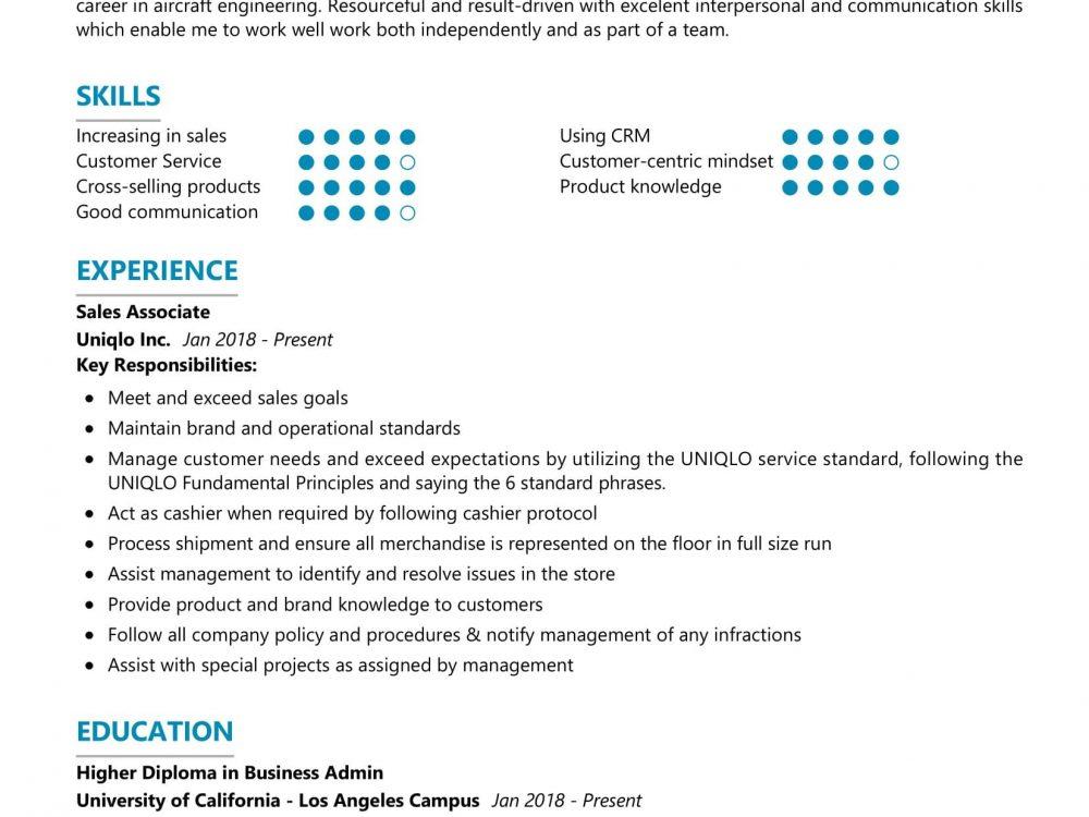 Sales Associate Resume Sample