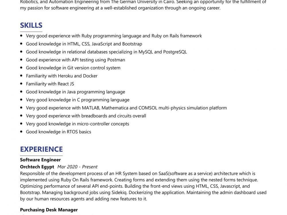 Senior Software Engineer Resume Sample