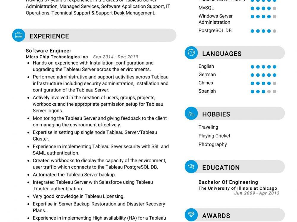 Tableau Server Administrator Resume Sample