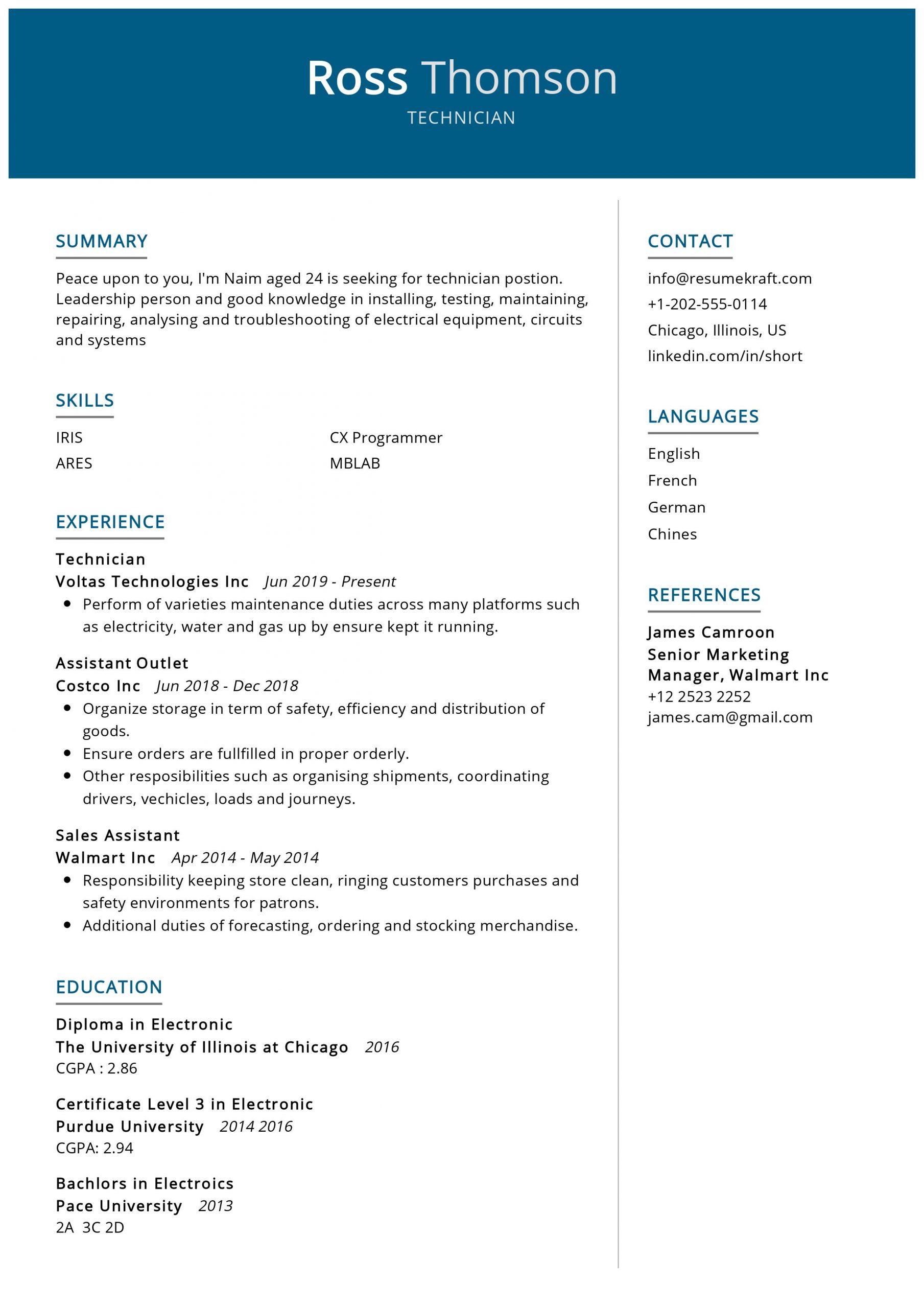 Technician Resume Sample Resumekraft