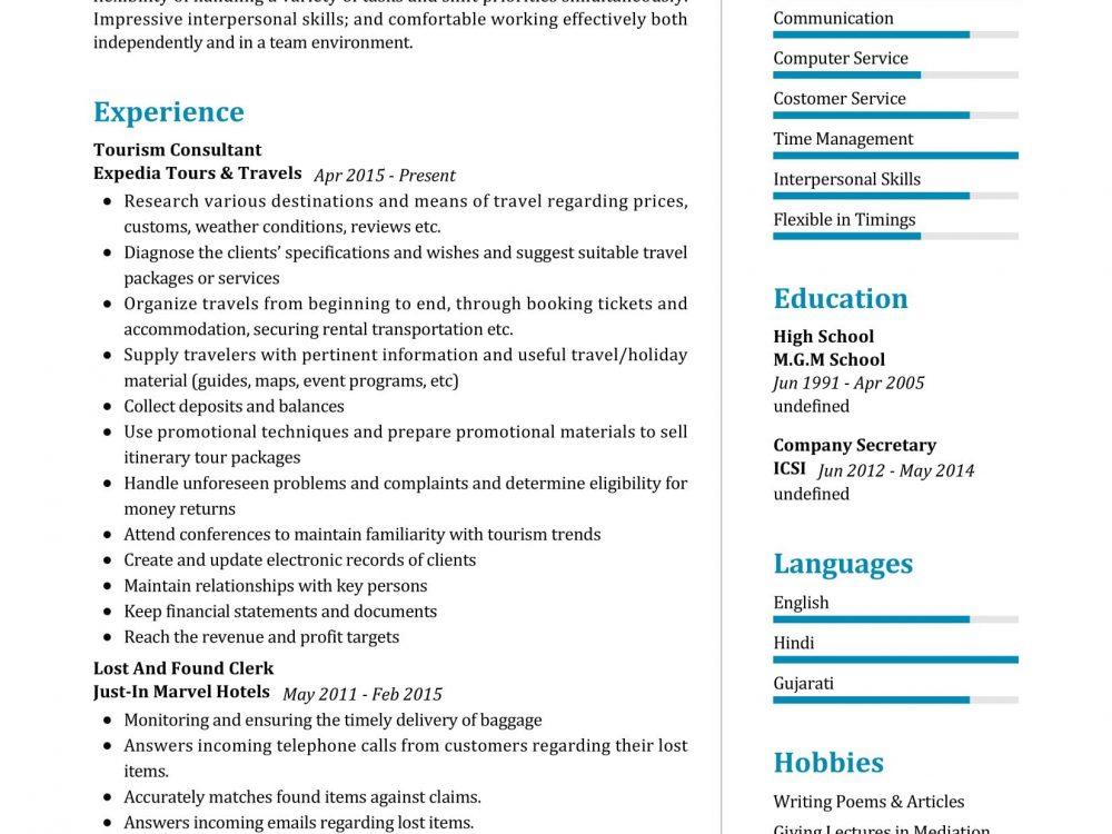 Tourism Consultant Resume Sample