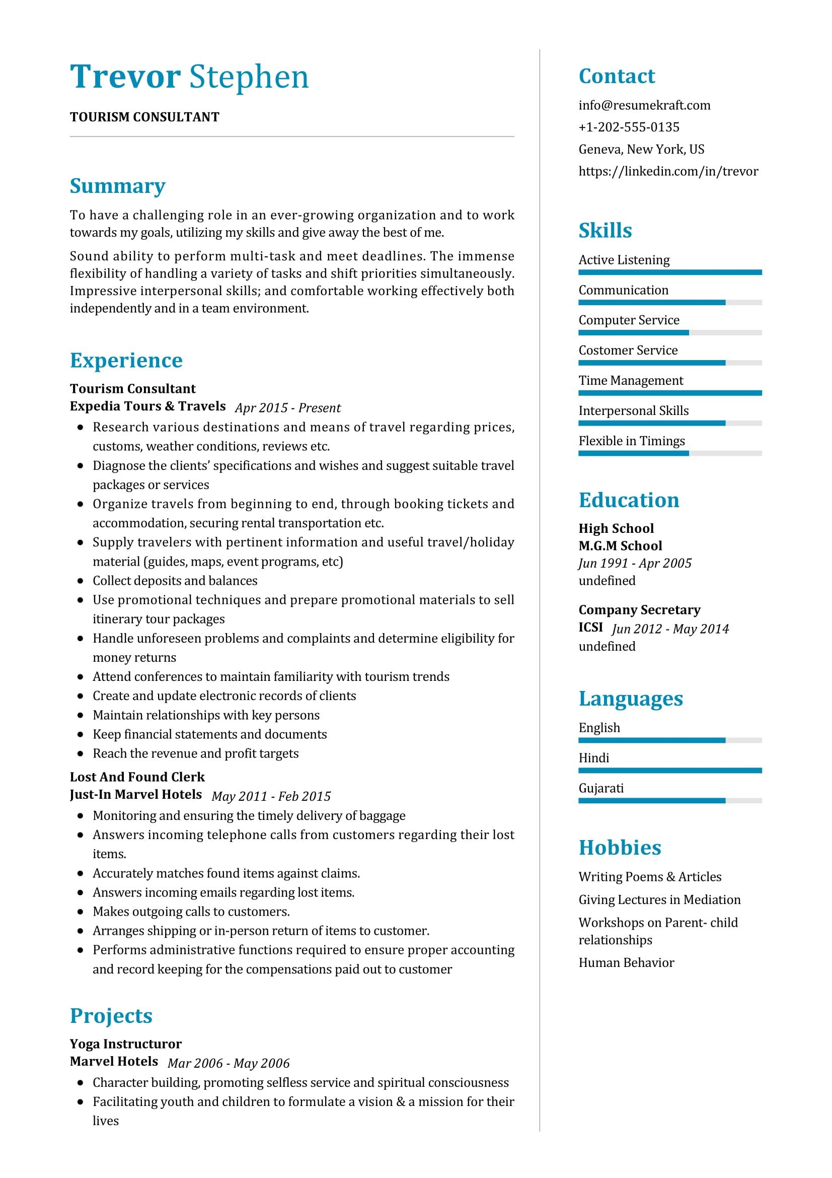 Resume for tourism management knight essay contests