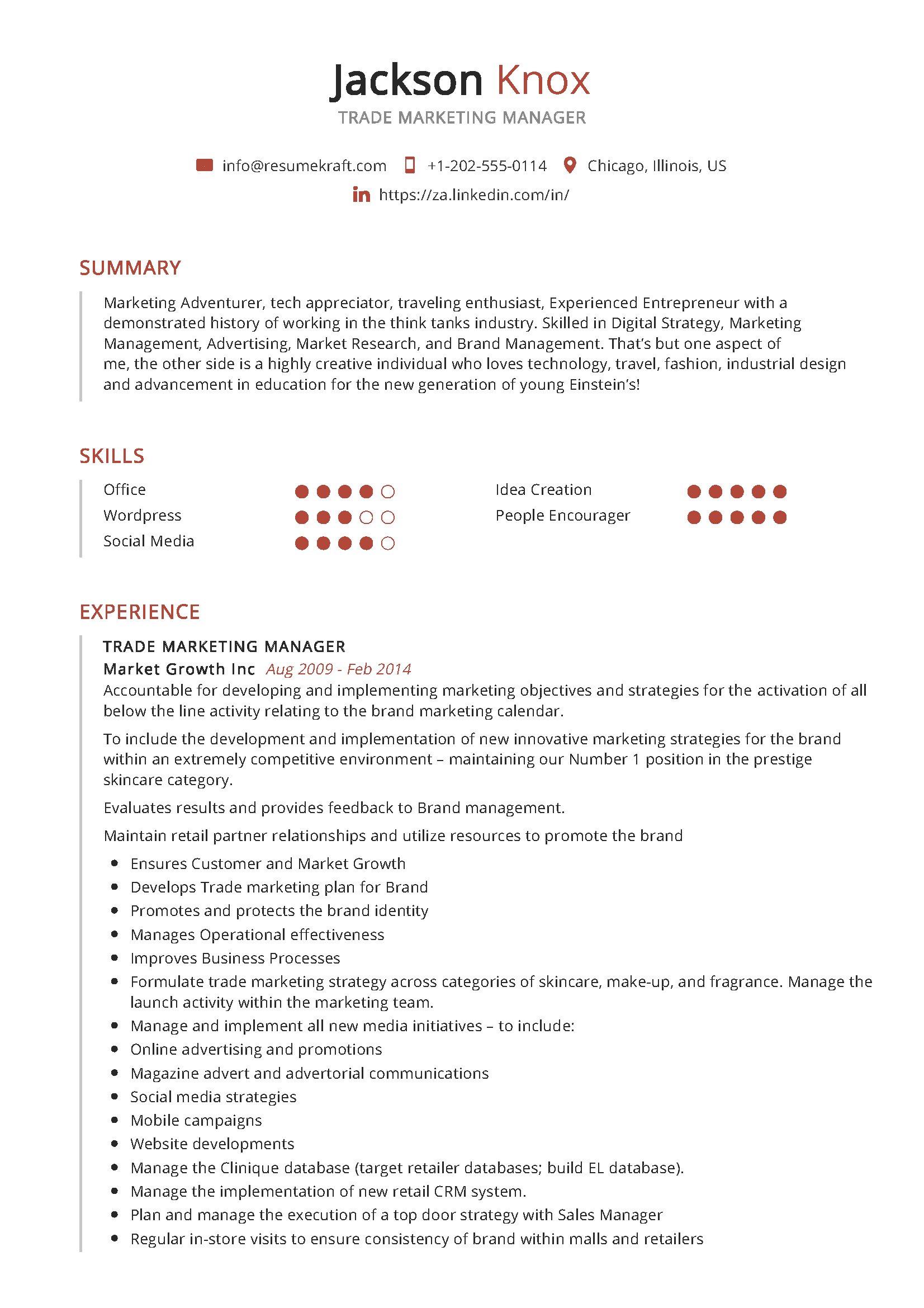 Trade Marketing Manager Resume Sample Resumekraft