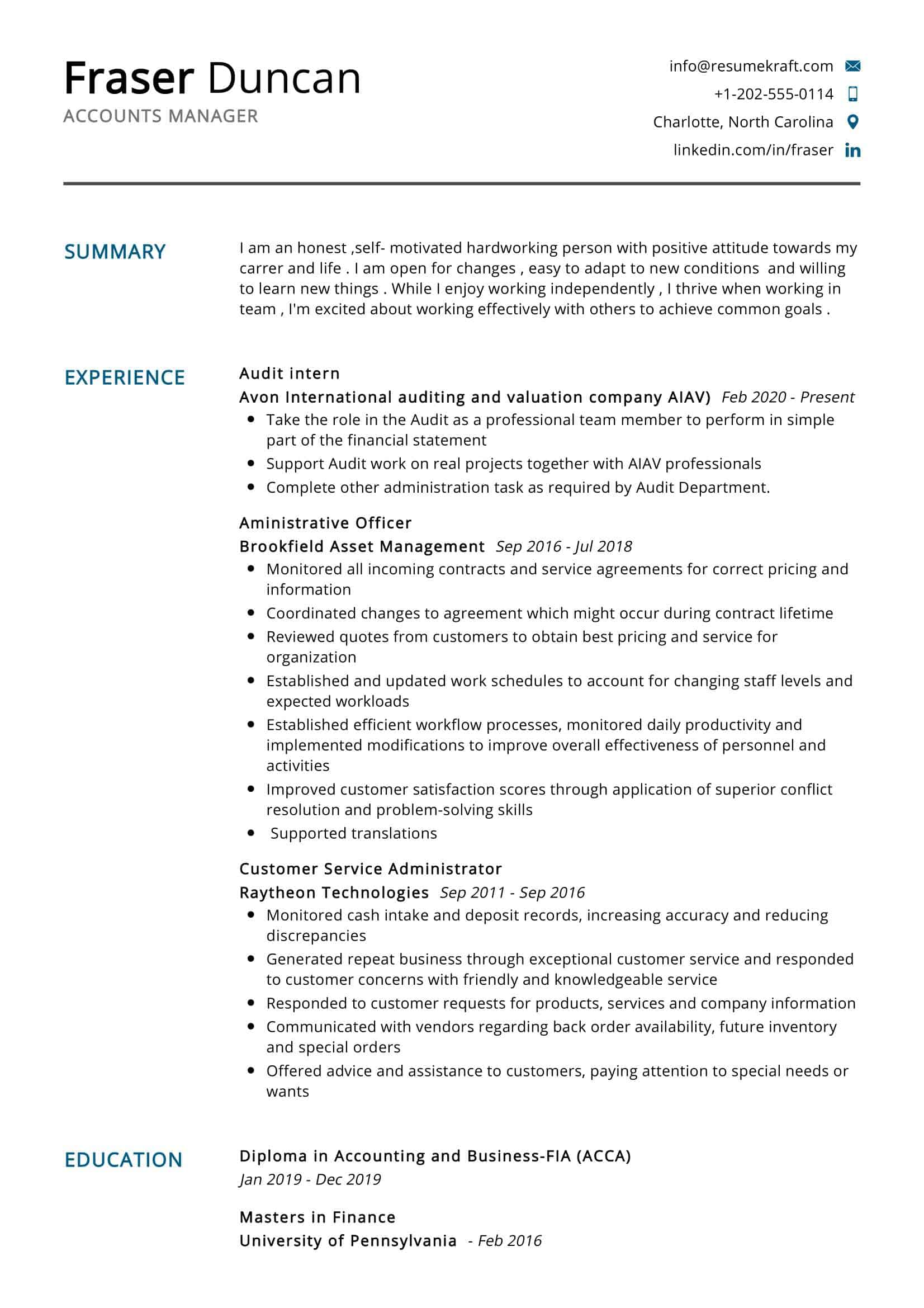 Accounts Manager Resume Sample