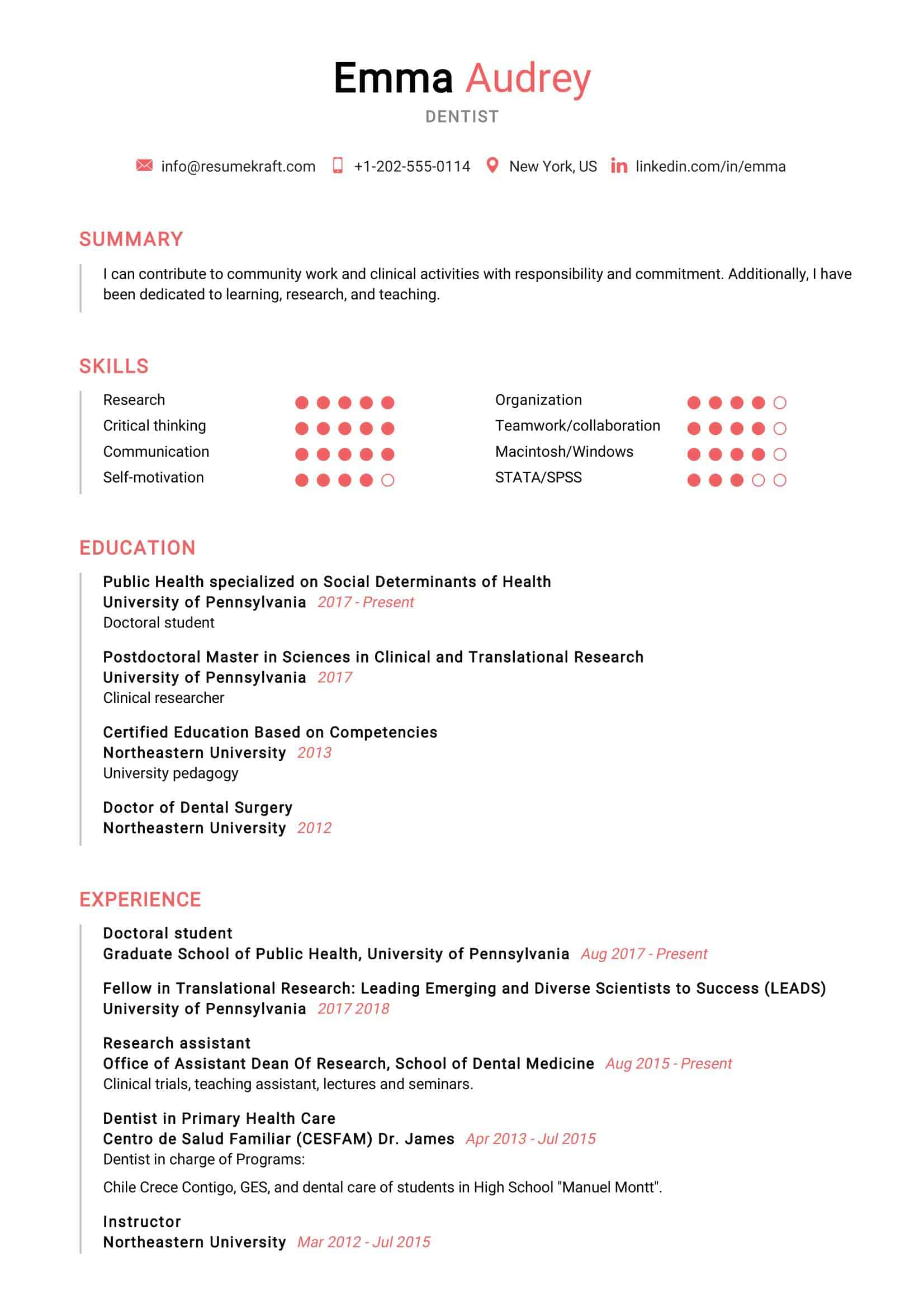 dentist resume sample  resumekraft