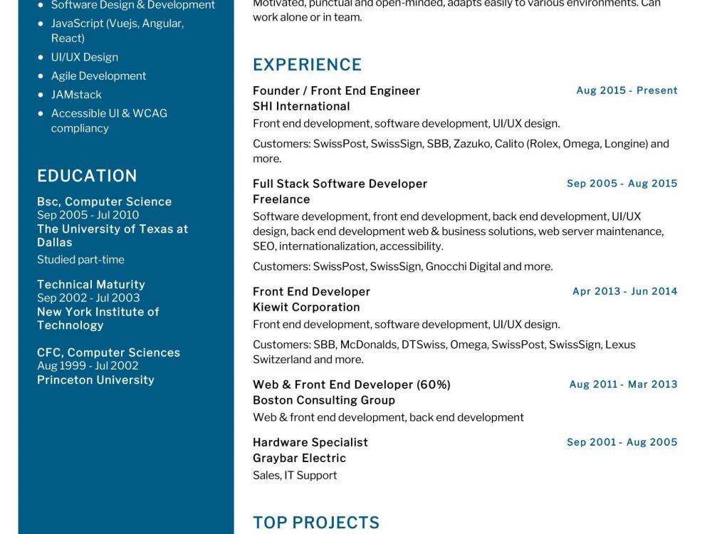 Front End Engineer Resume