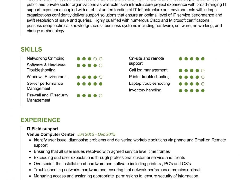 IT System Administrator Resume