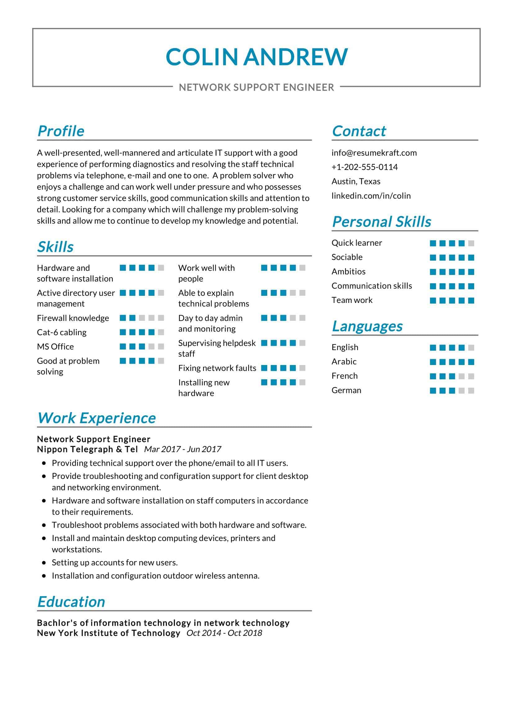 Network Support Engineer Resume Sample Resumekraft