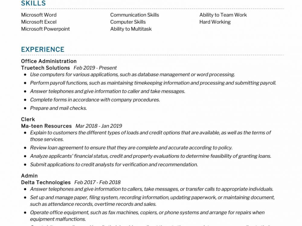 Office Administration Resume Sample
