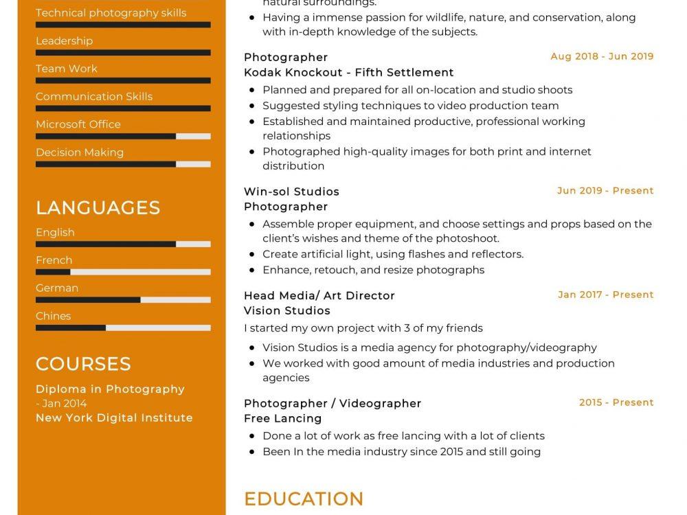 Photographer Resume Sample