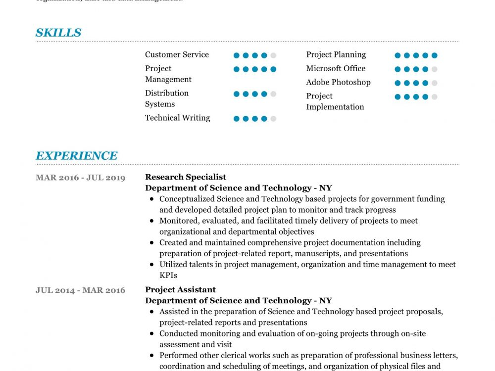 research specialist resume sample