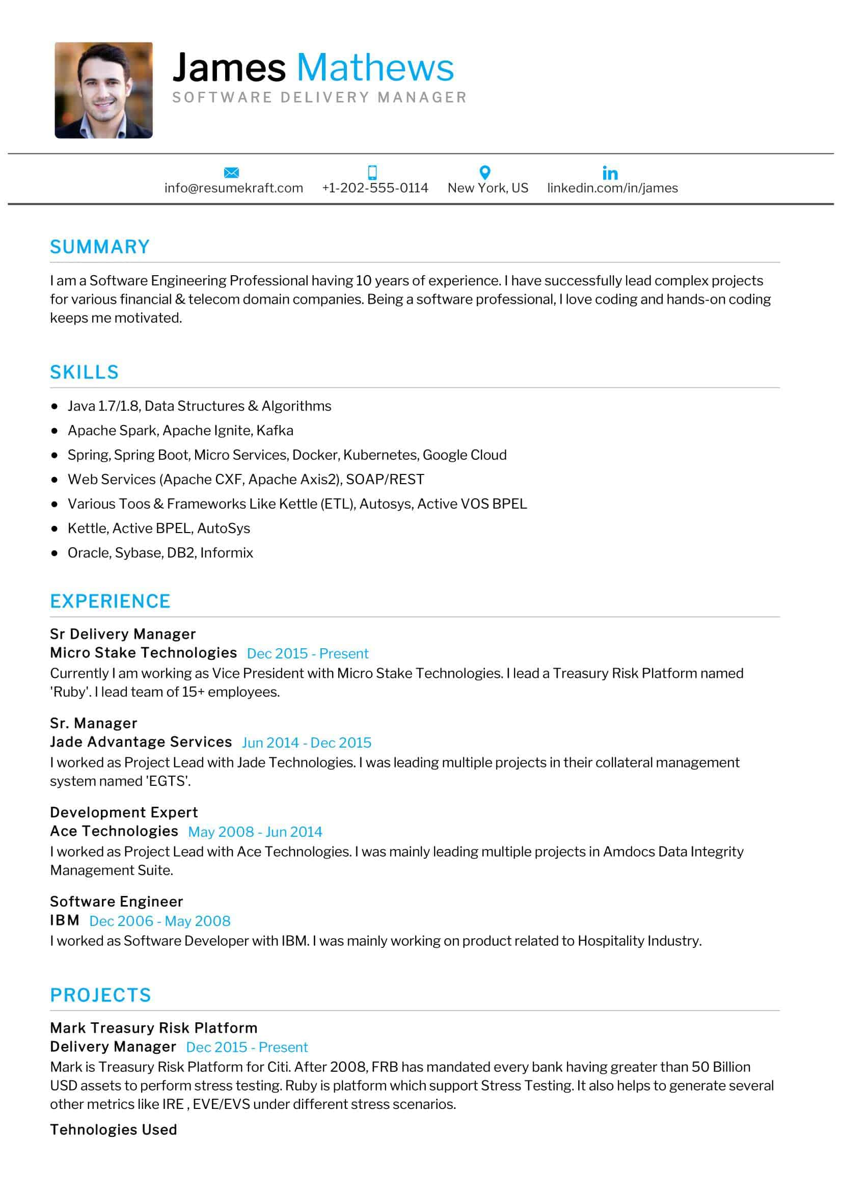 software delivery manager resume