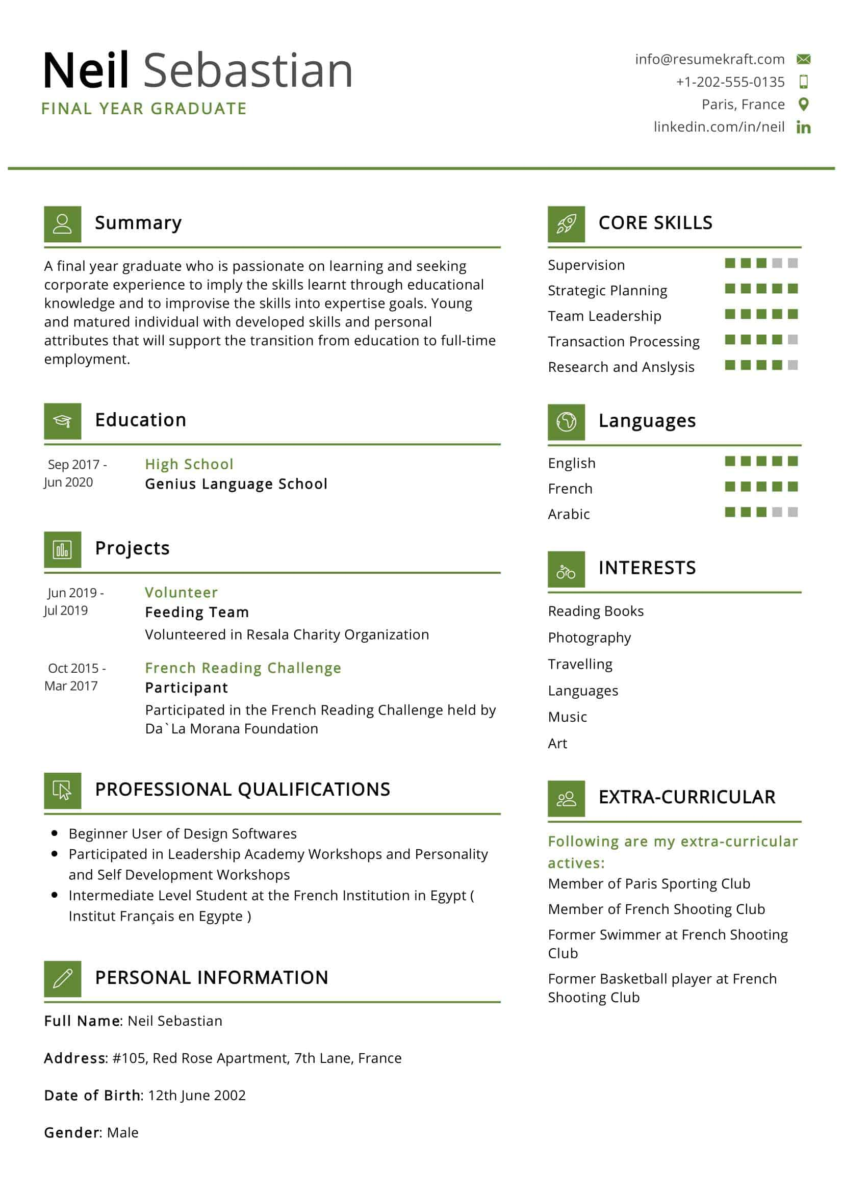 Fresher Resume Example Resumekraft