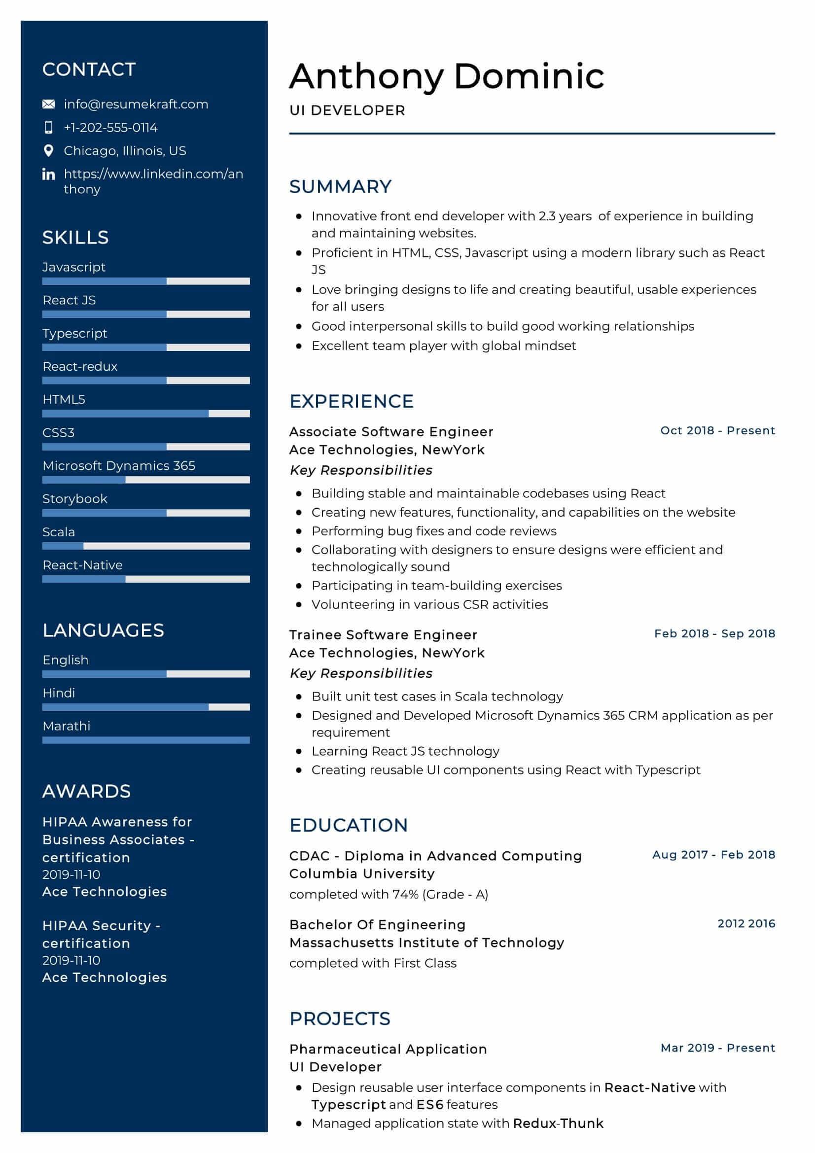 Ui Developer Resume Sample Resumekraft