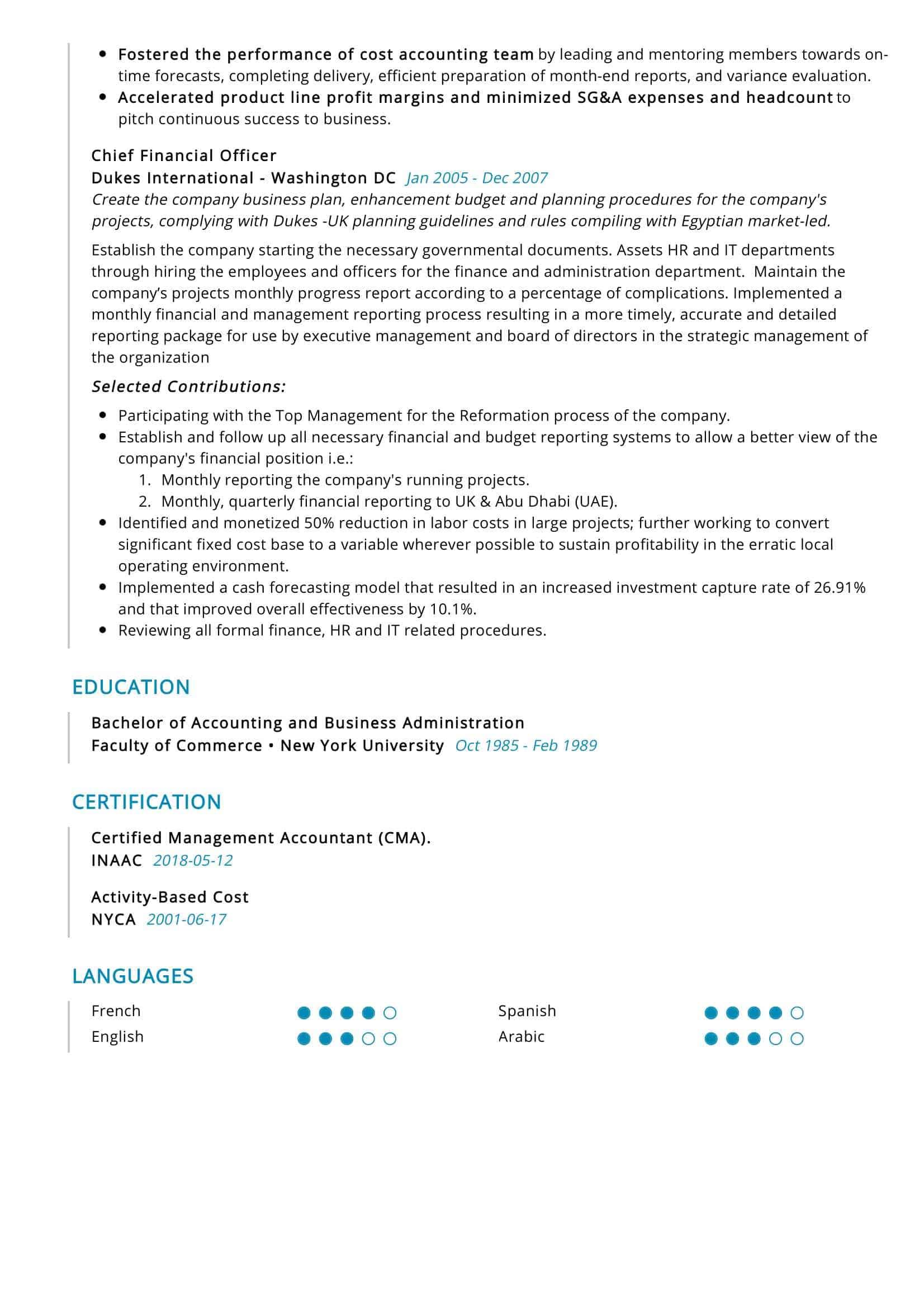 chief financial officer resume sample  resumekraft