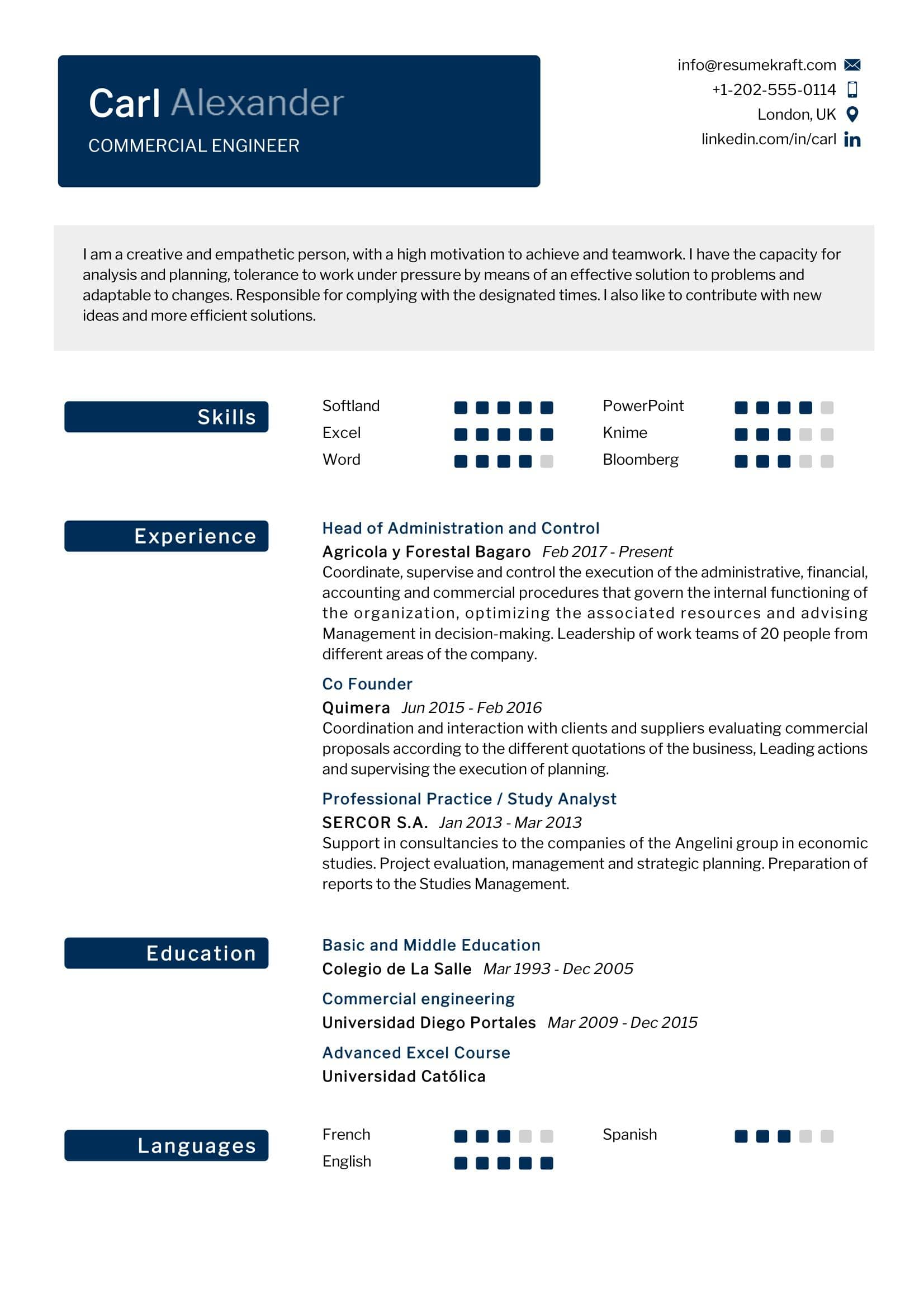 Commercial Engineer Resume Sample