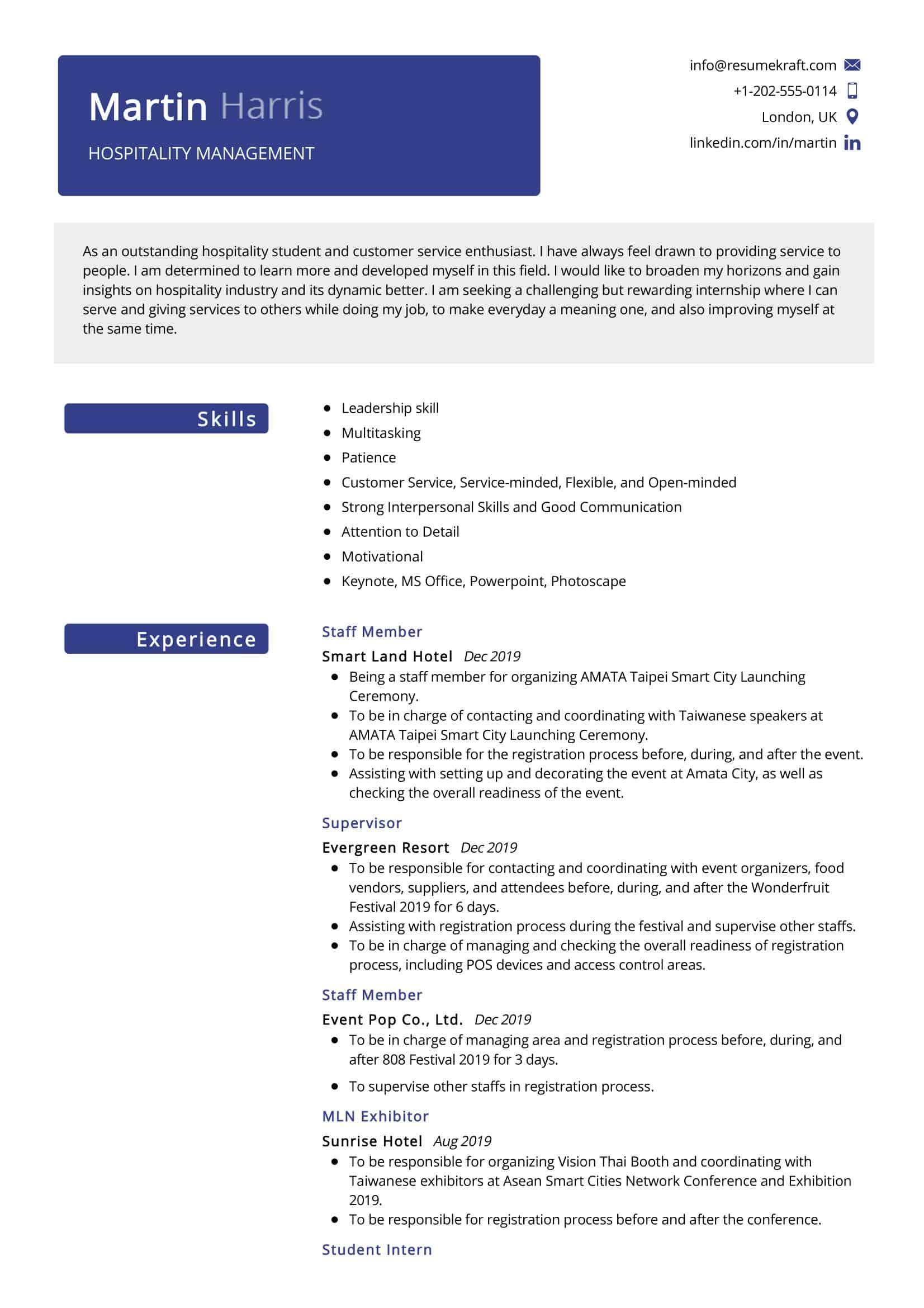 hospitality management resume sample  resumekraft
