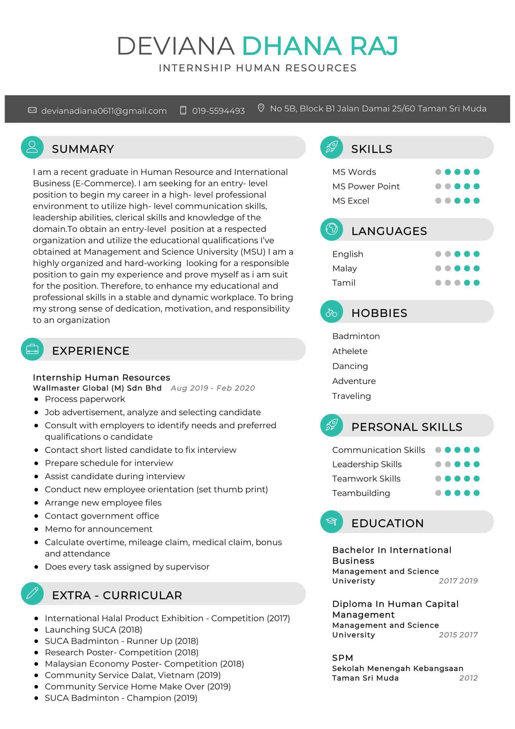 Internship Human Resources Resume