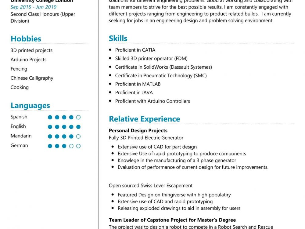 Mechanical Engineer Student Resume
