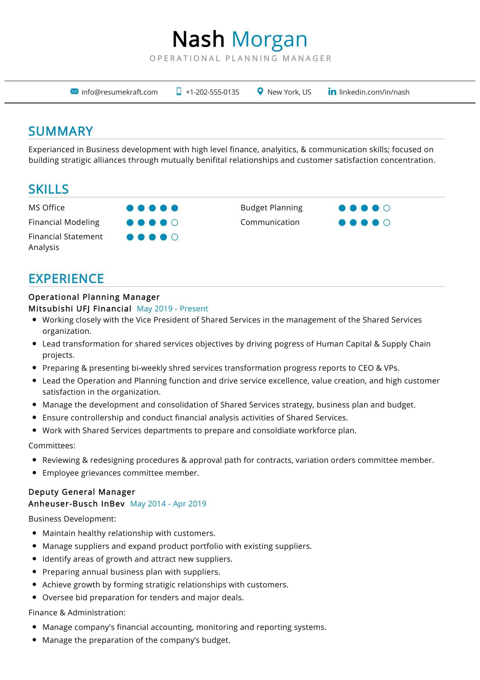 Operational Planning Manager Resume