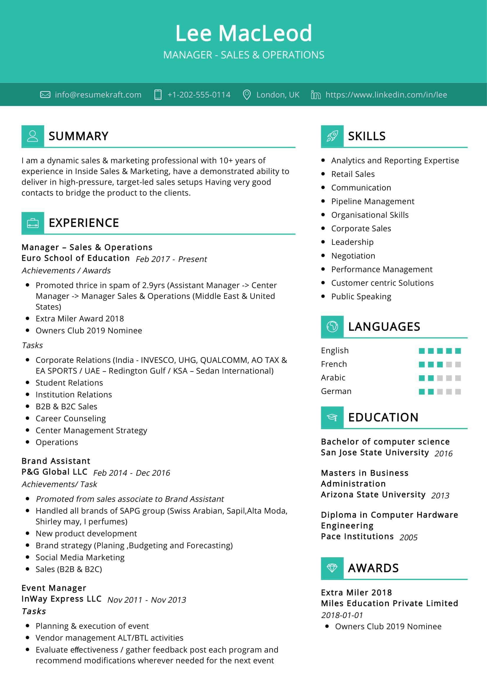 Sales and Operations Resume Sample