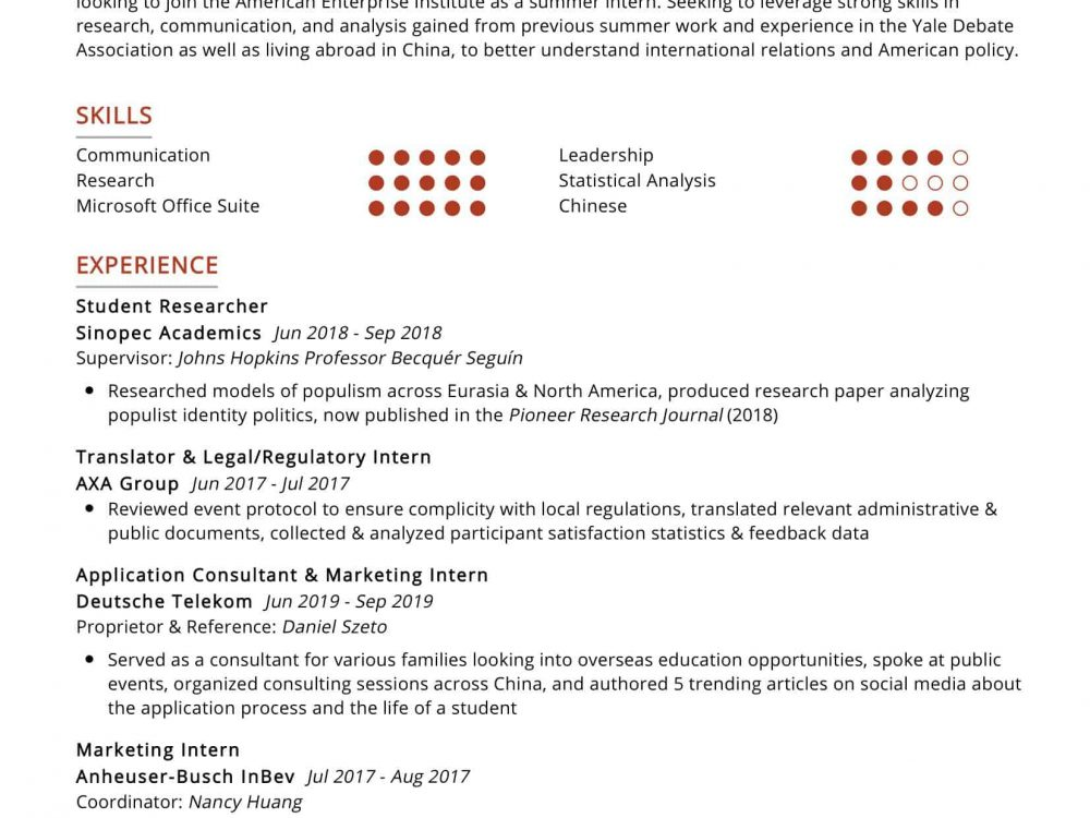 Student Researcher Resume Sample