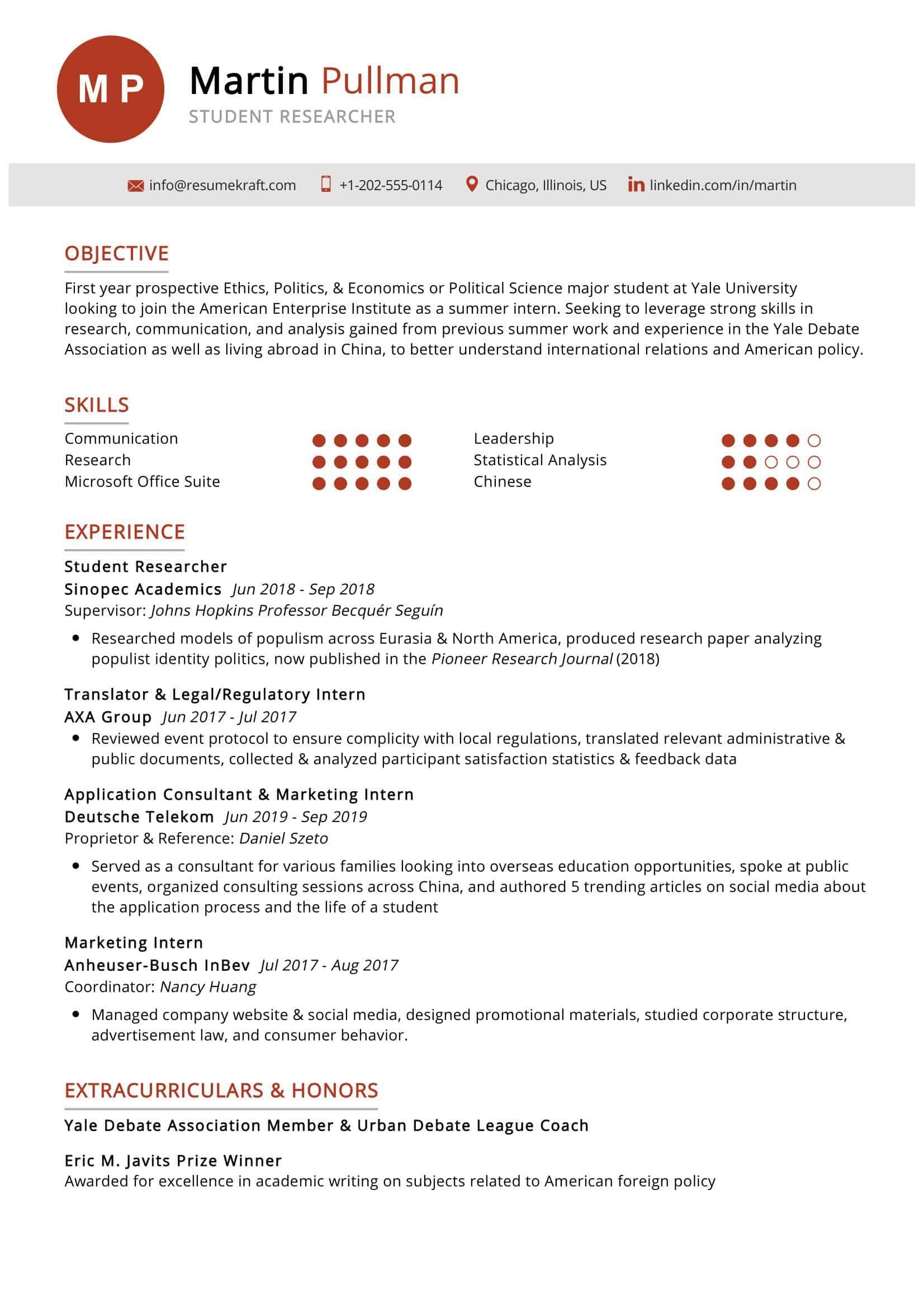 student researcher resume sample  resumekraft